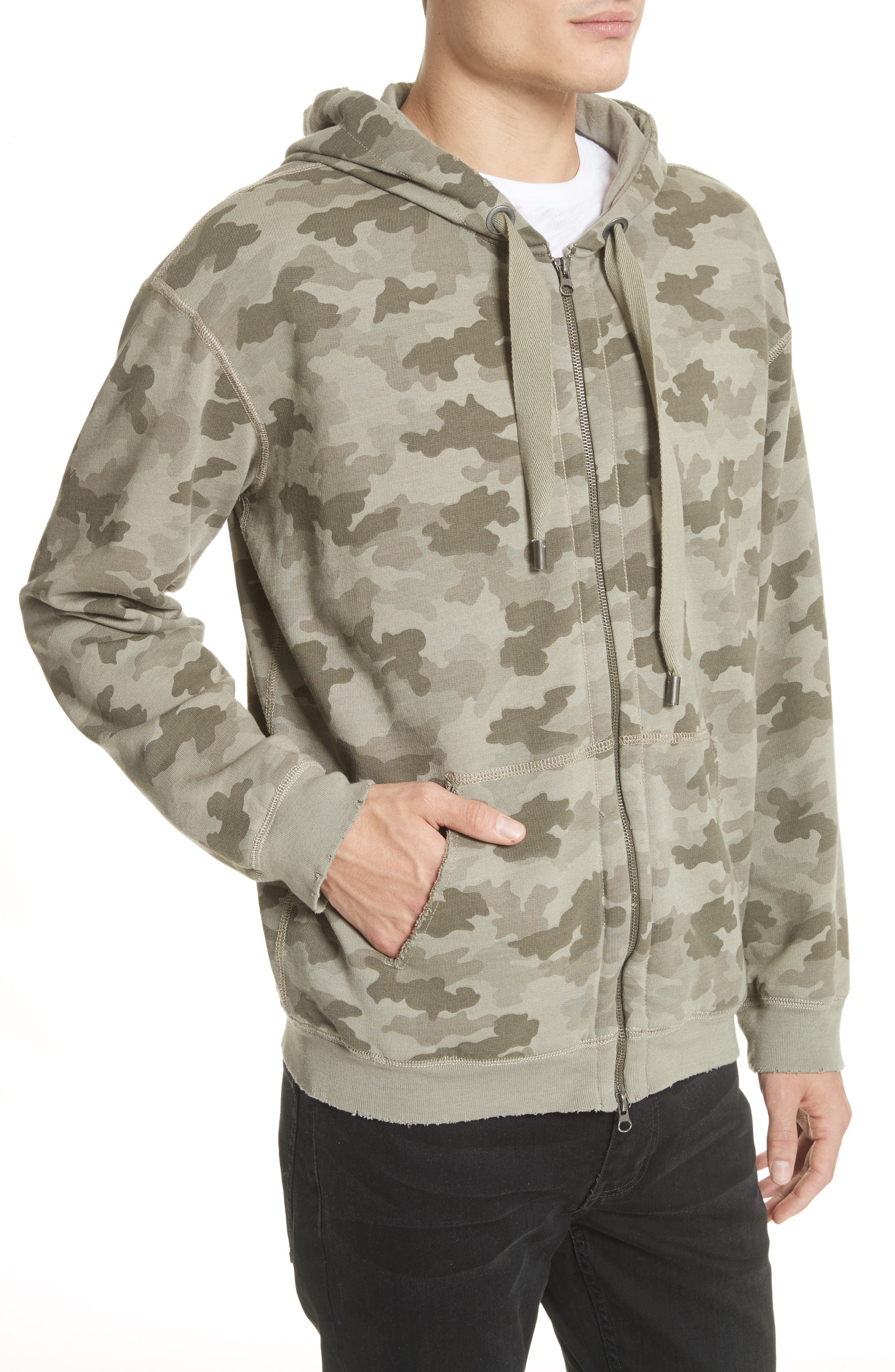 Camo French Terry Zip Hoodie,                             Alternate thumbnail 4, color,                             Sage Camo