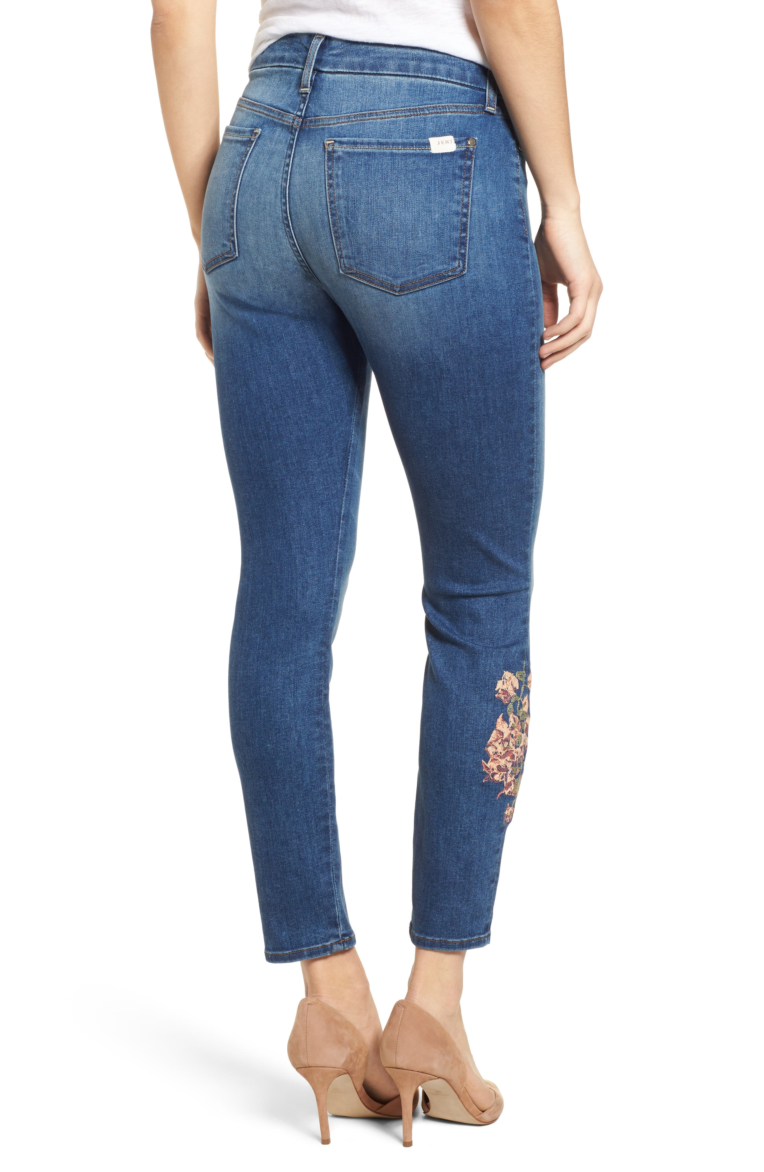 Embroidered Ankle Skinny Jeans,                             Alternate thumbnail 2, color,                             Garden City