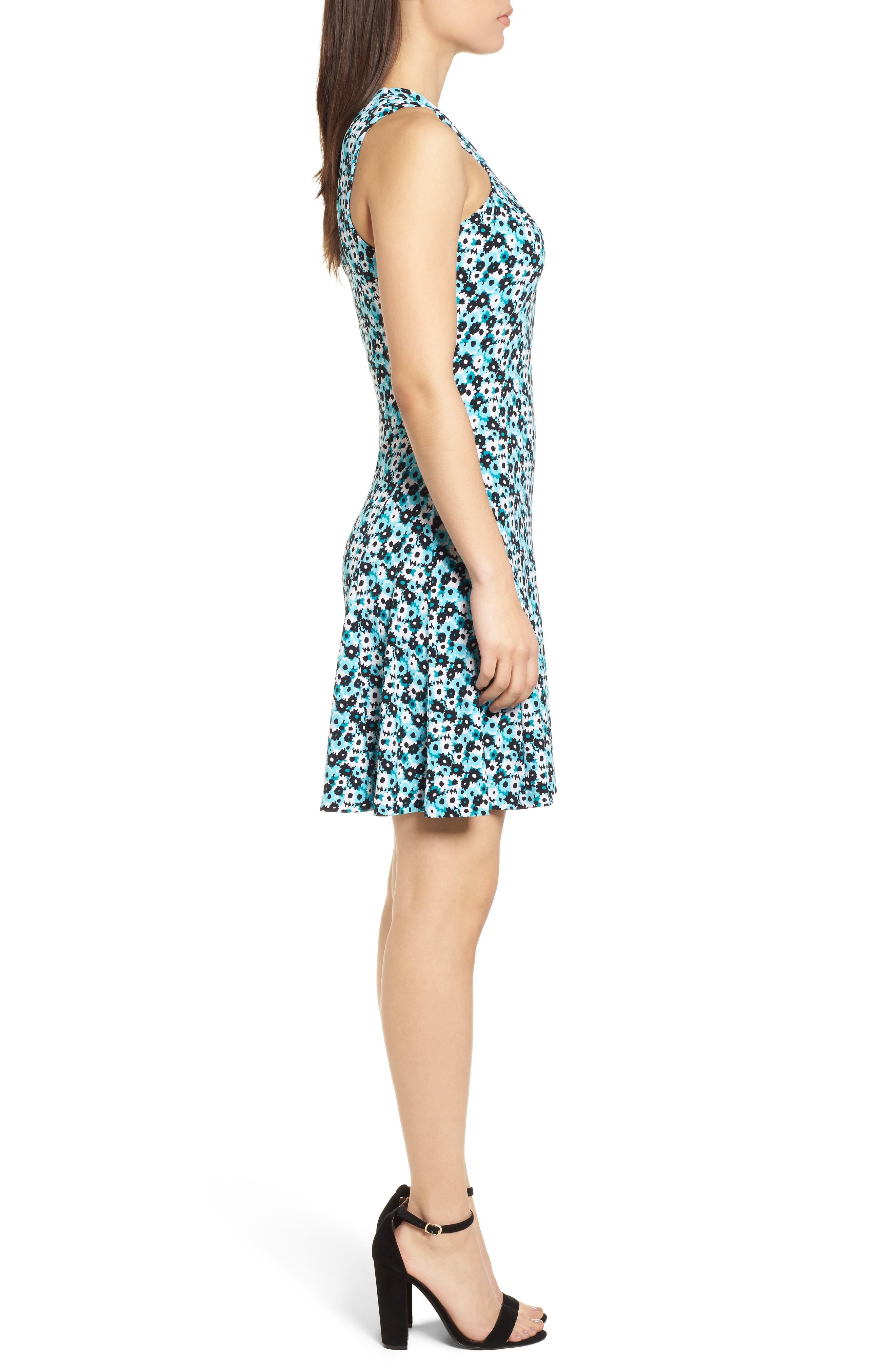 Carnations Cross Neck Fit and Flare Dress,                             Alternate thumbnail 3, color,                             Tile Blue/ Black Multi