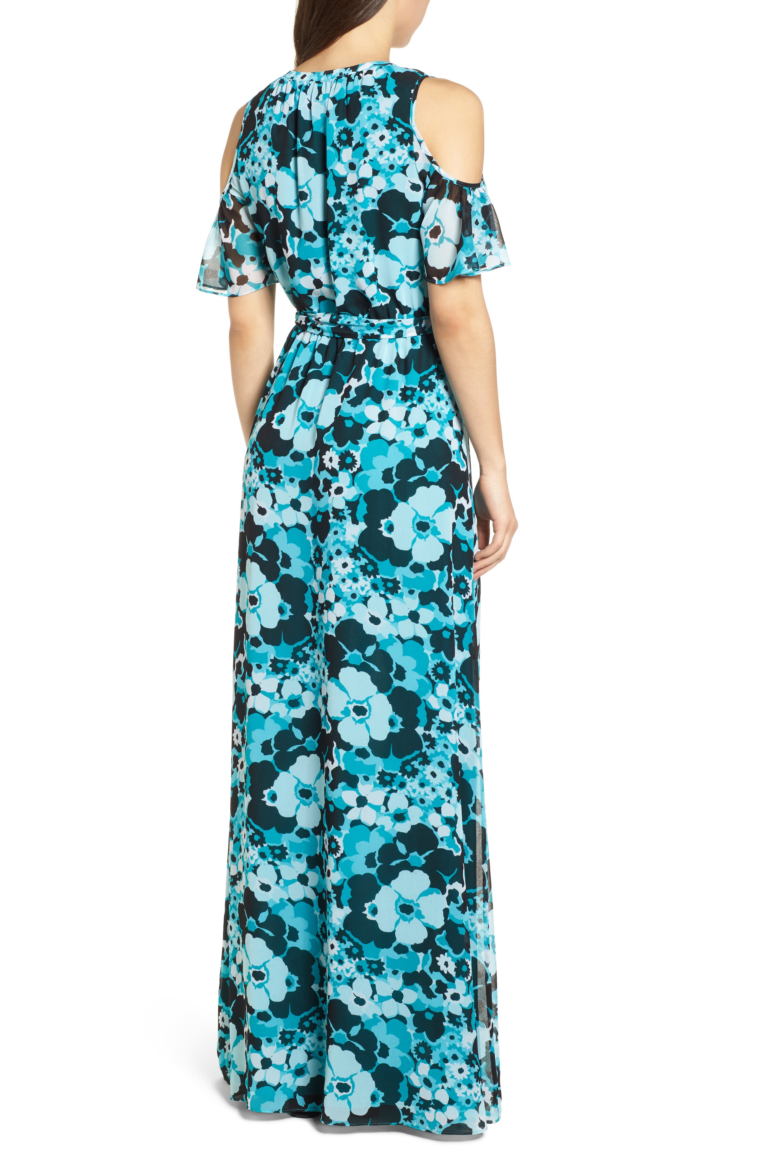 Spring Floral Maxi Dress,                             Alternate thumbnail 2, color,                             Tile Blue/ Black Multi