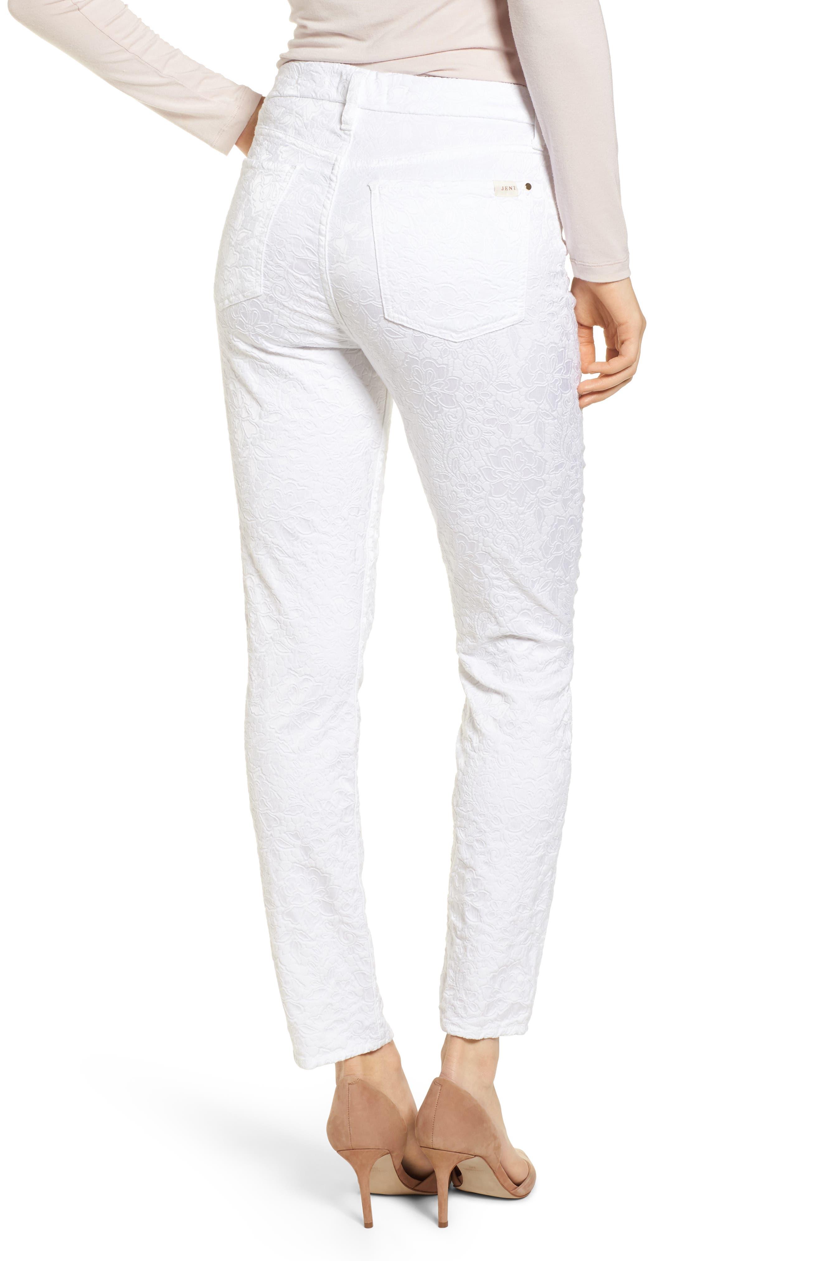 Jacquard Ankle Skinny Jeans,                             Alternate thumbnail 2, color,                             White