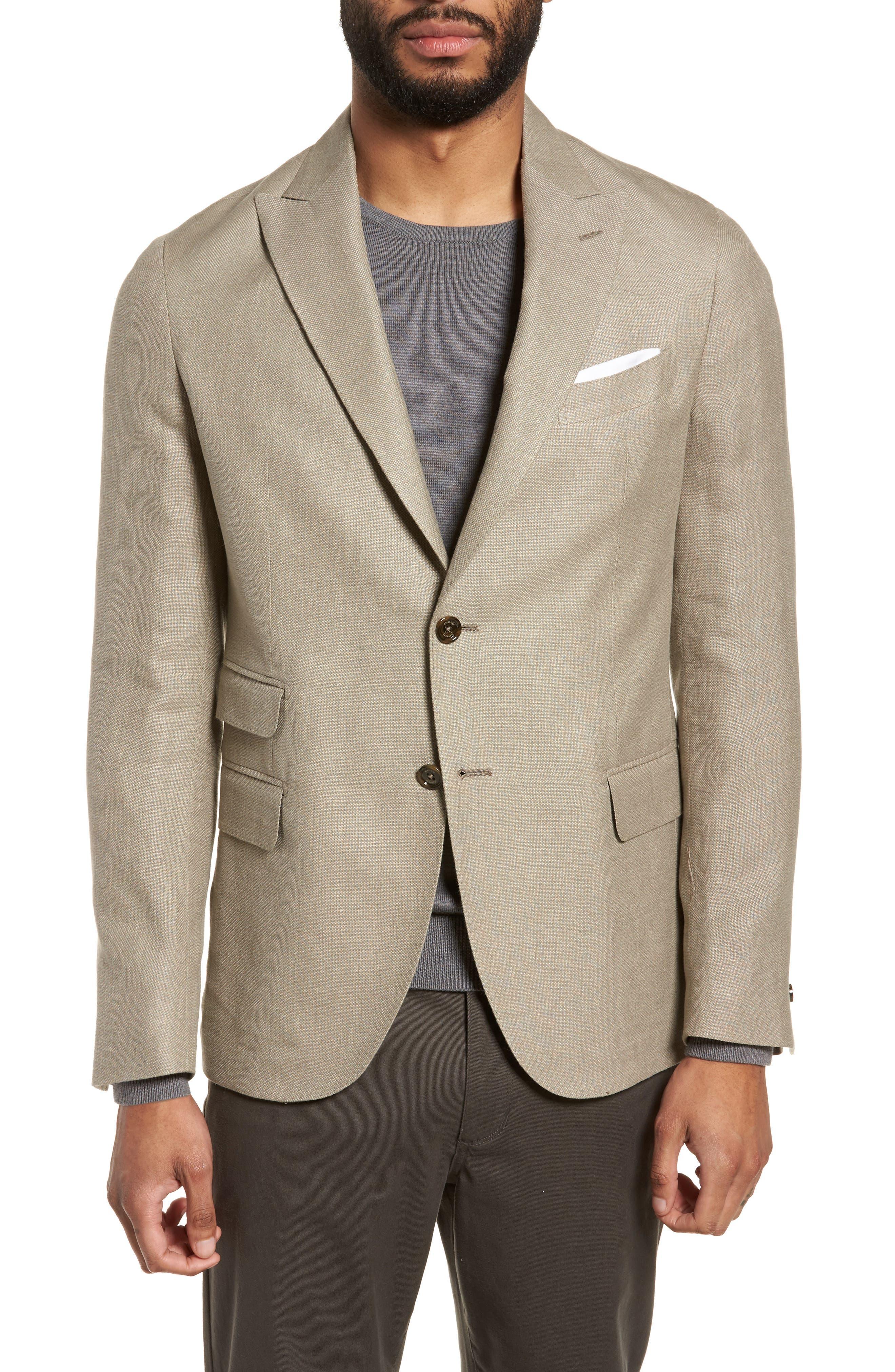 Hopsak Trim Fit Linen Blend Blazer,                         Main,                         color, Taupe