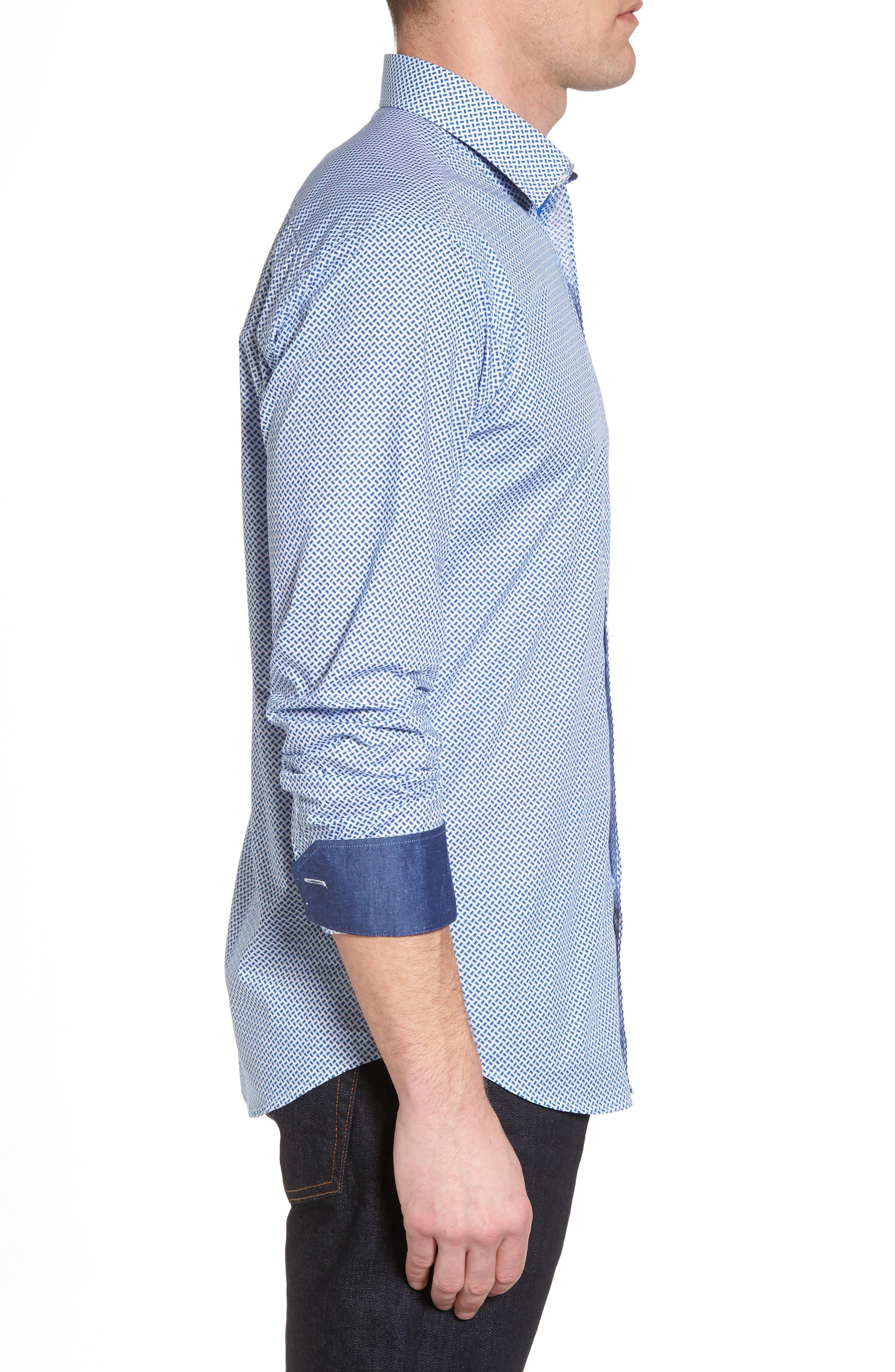 Shaped Fit Print Sport Shirt,                             Alternate thumbnail 3, color,                             Classic Blue