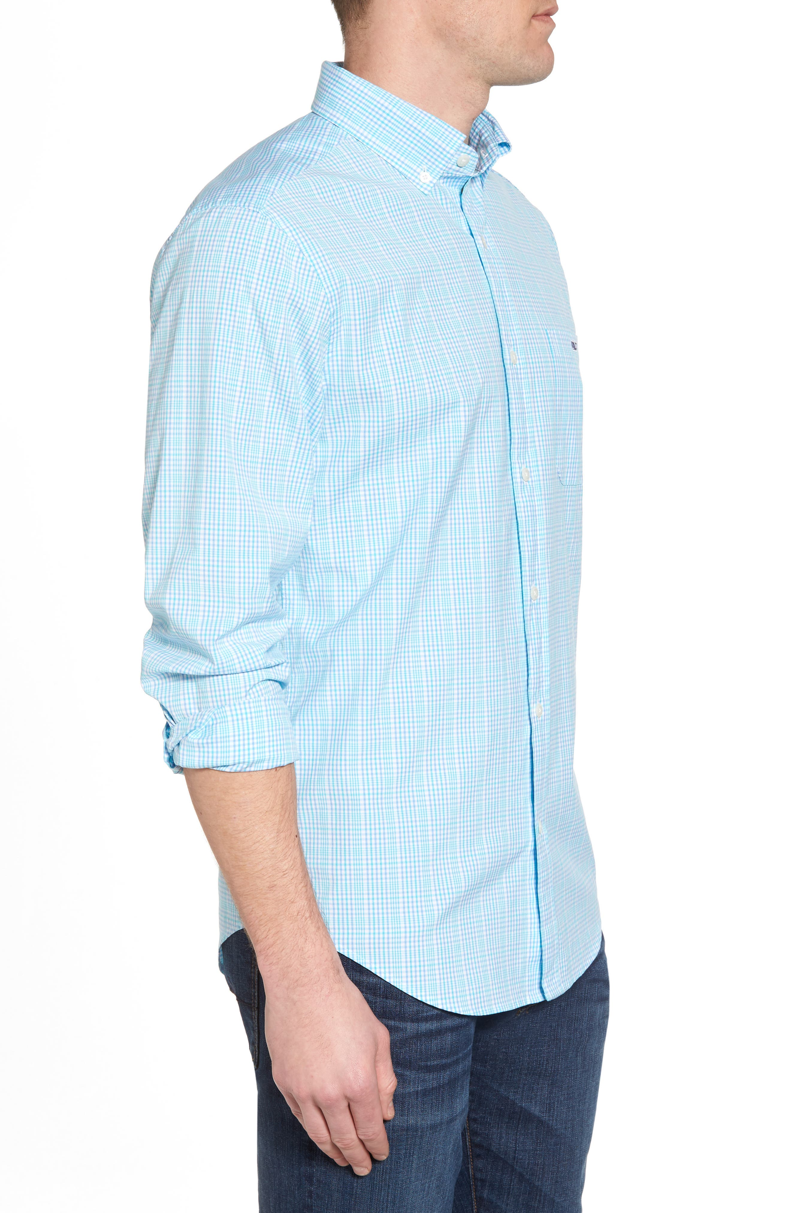 Rolling Harbor Classic Fit Plaid Sport Shirt,                             Alternate thumbnail 3, color,                             Turquoise