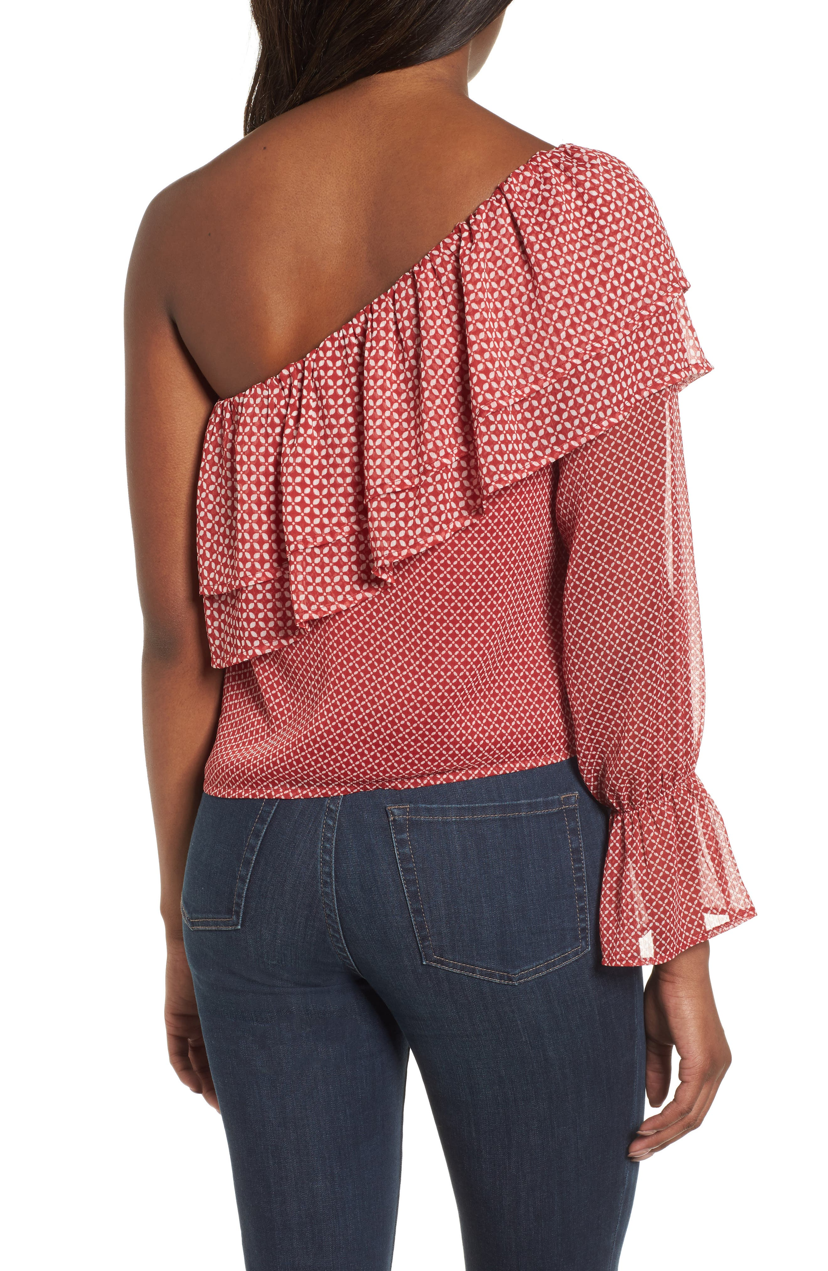 One-Shoulder Printed Top,                             Alternate thumbnail 2, color,                             Red Multi