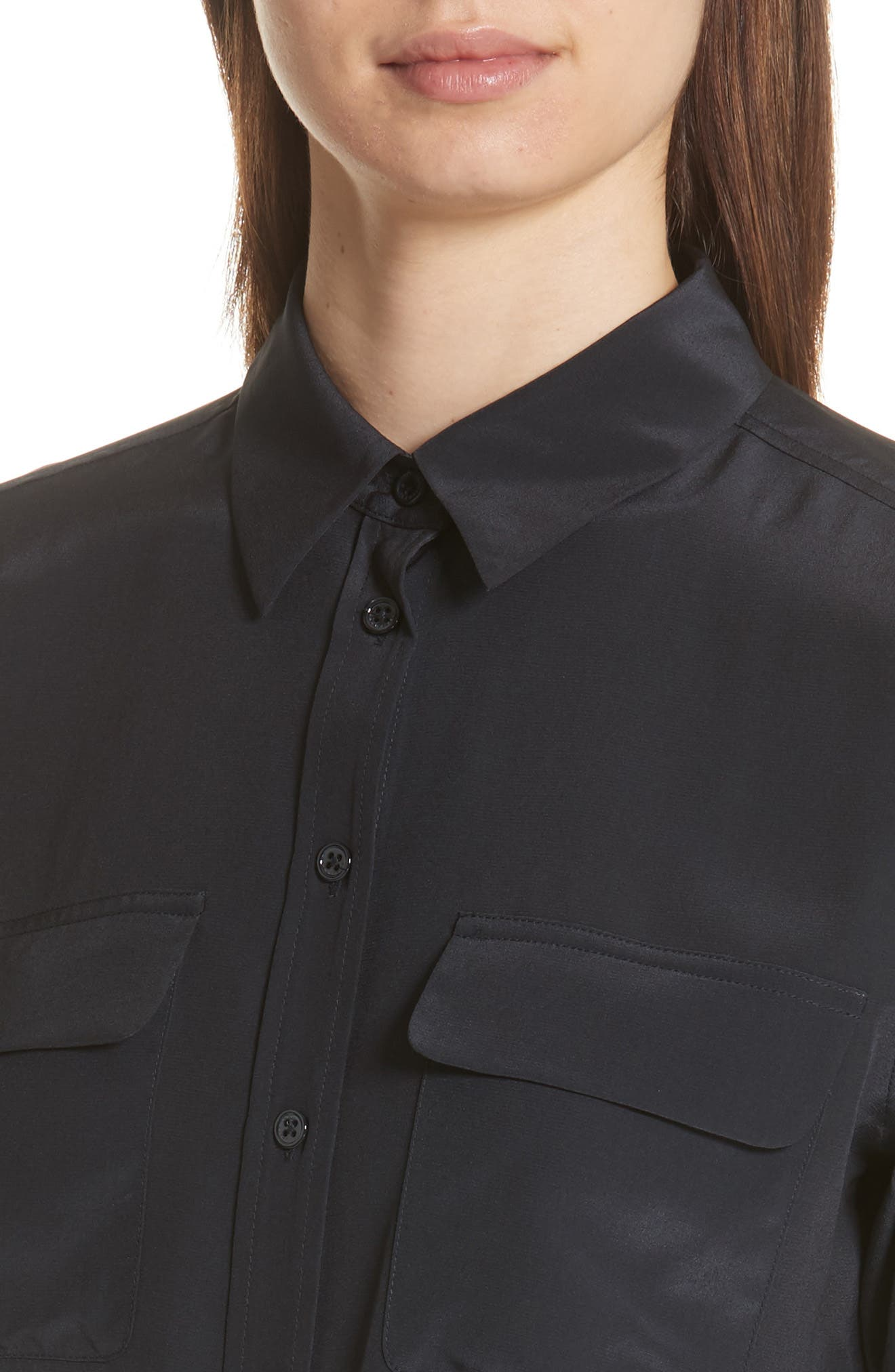 Slim Signature Silk Shirt,                             Alternate thumbnail 4, color,                             Eclipse