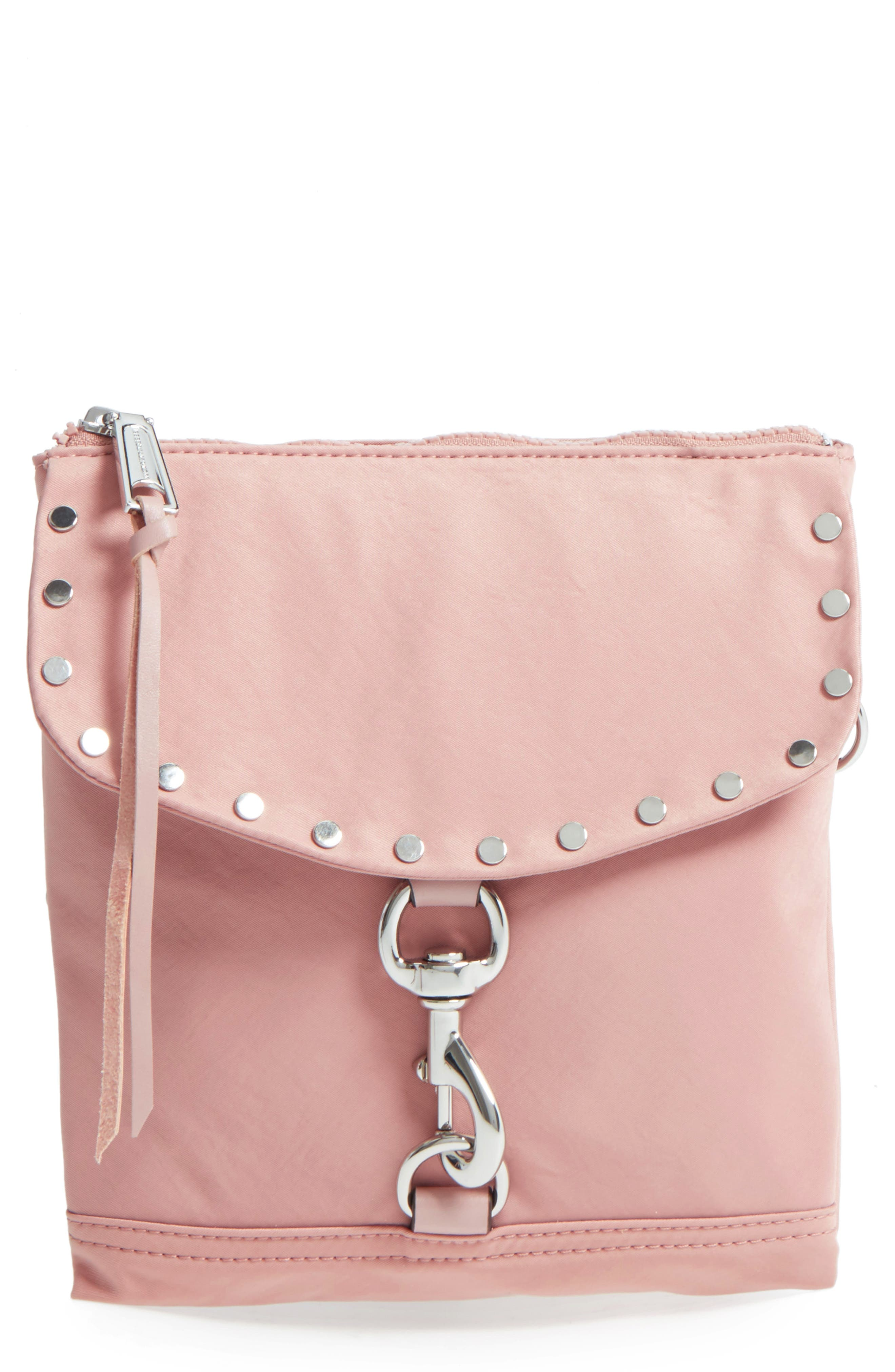 Nylon Flap Crossbody Bag,                             Main thumbnail 1, color,                             Vintage Pink
