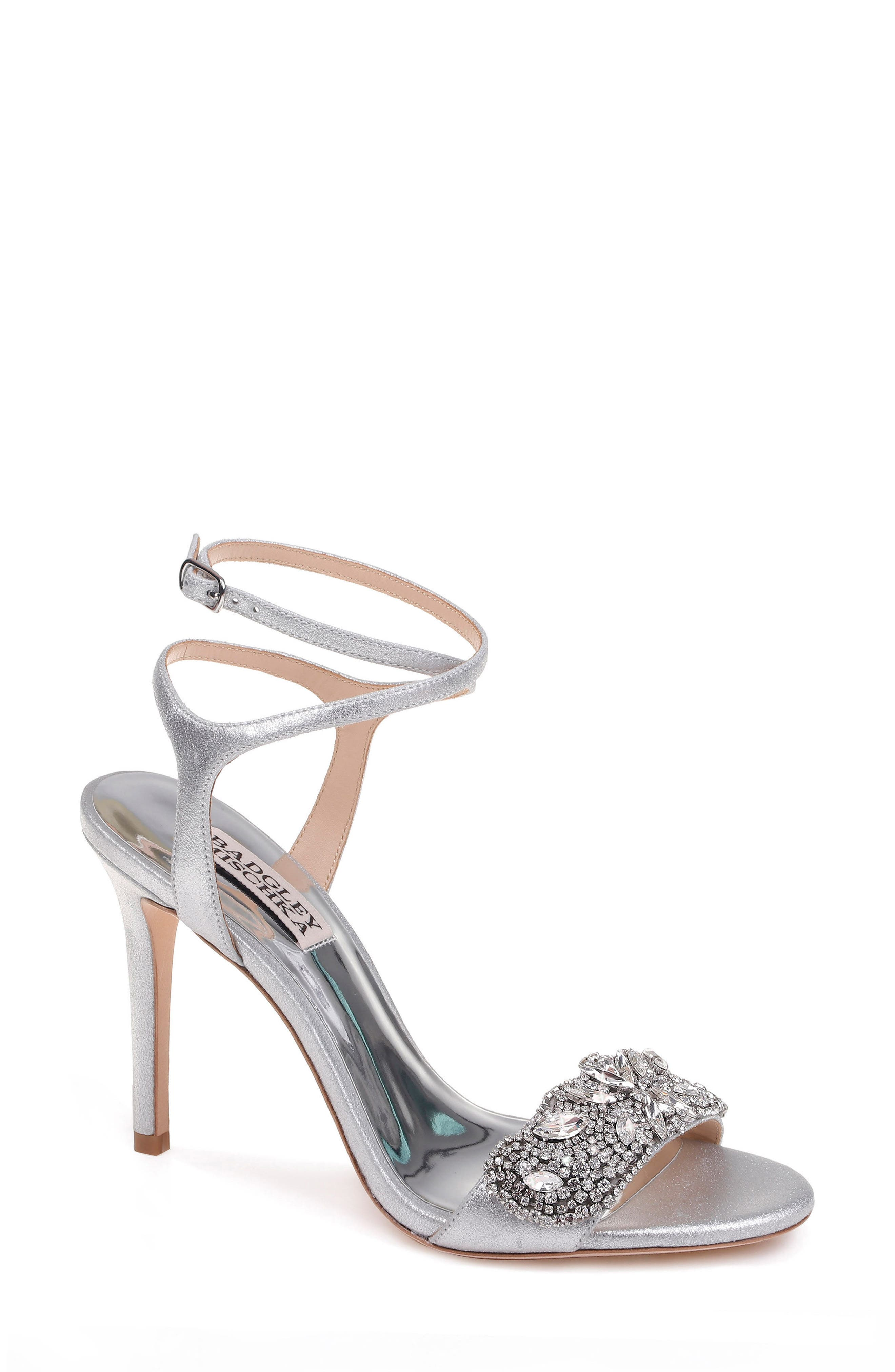 Hailey Embellished Ankle Strap Sandal,                             Main thumbnail 1, color,                             Silver Metallic Suede