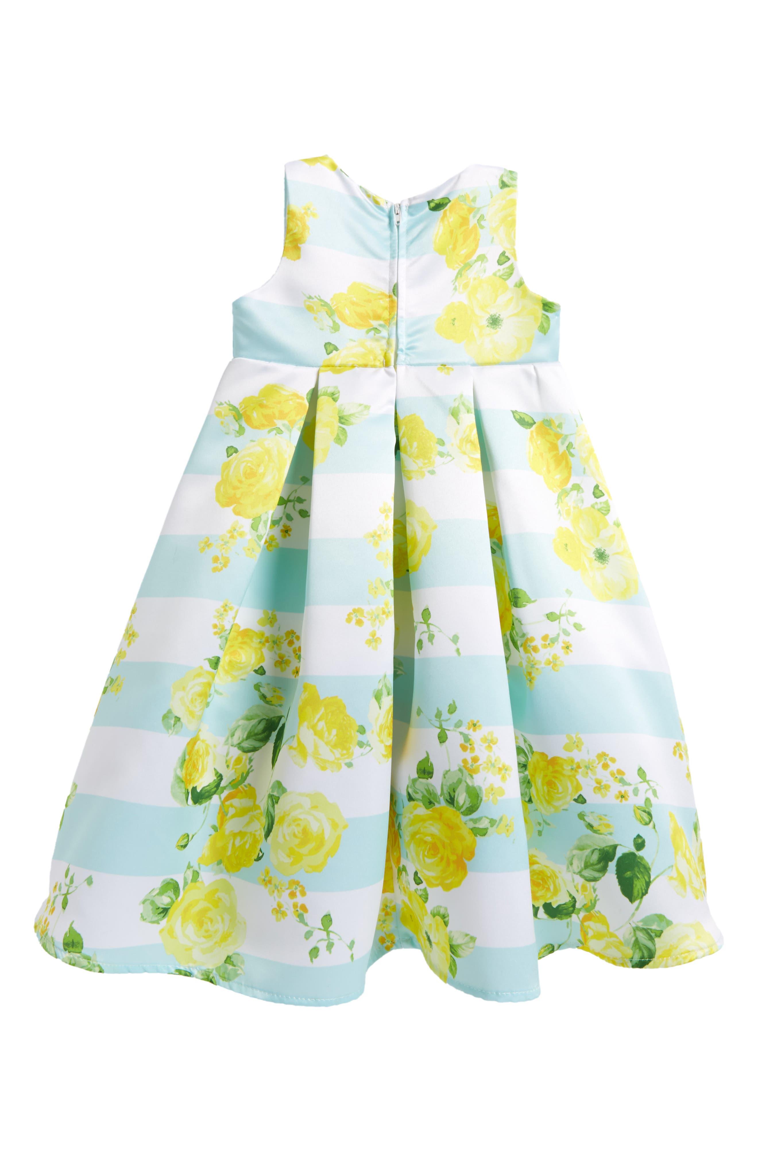 Alternate Image 2  - Ava & Yelly Stripe Empire Waist Dress (Toddler Girls & Little Girls)
