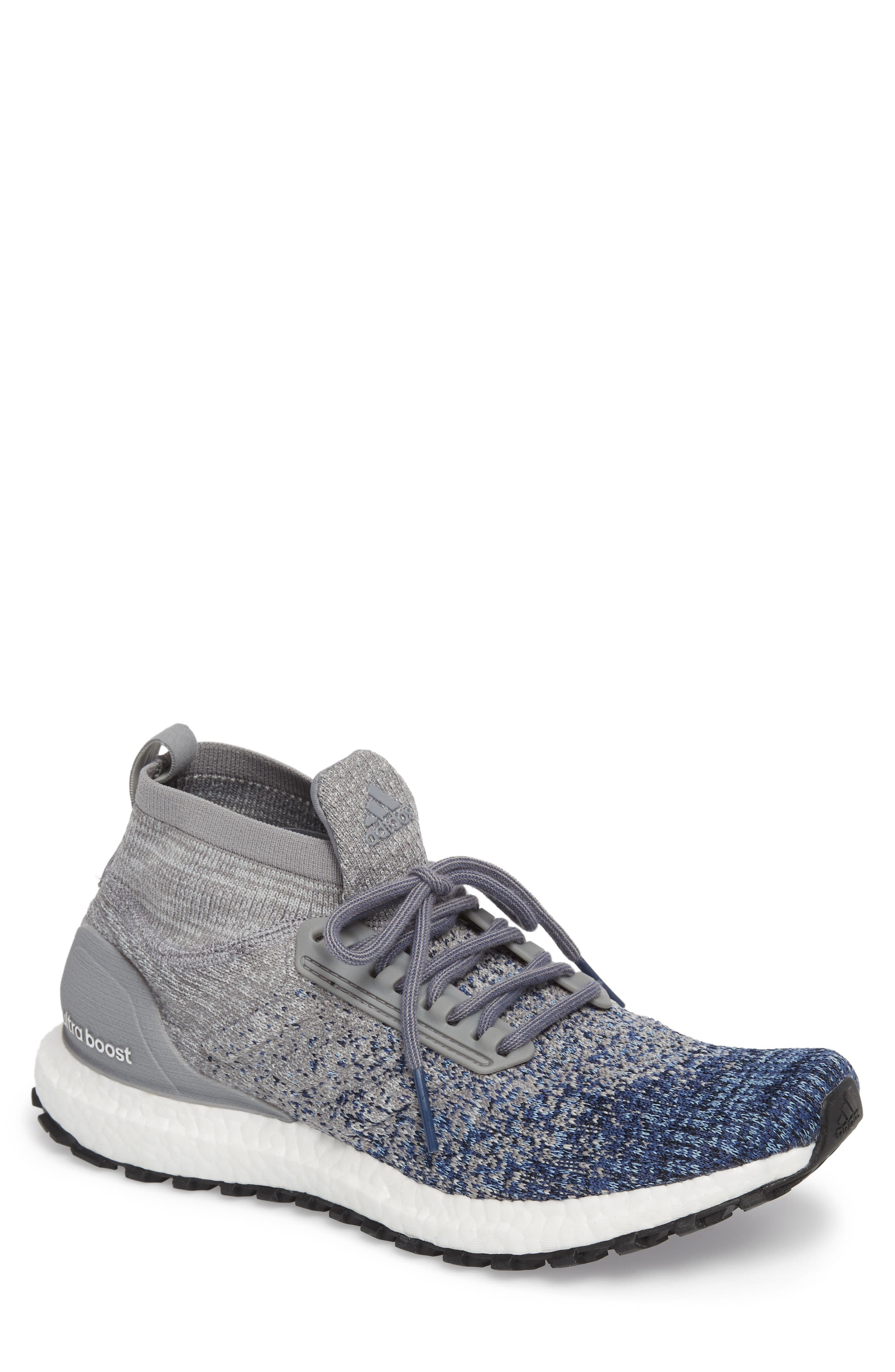 UltraBoost All Terrain Water Resistant Running Shoe,                             Main thumbnail 1, color,                             Grey/ Grey/ Noble Indigo