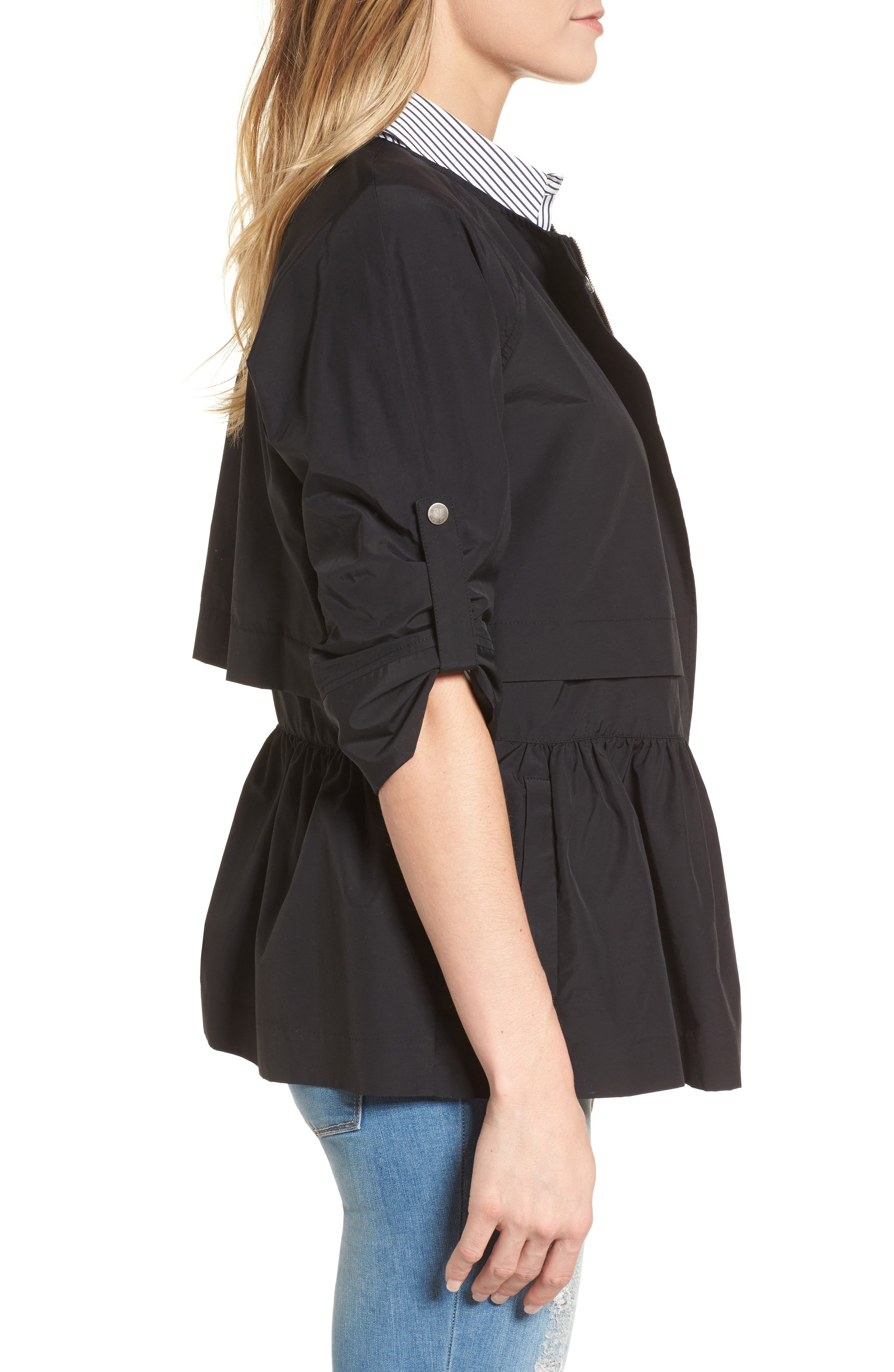 Peplum Cotton Blend Utility Jacket,                             Alternate thumbnail 3, color,                             Black