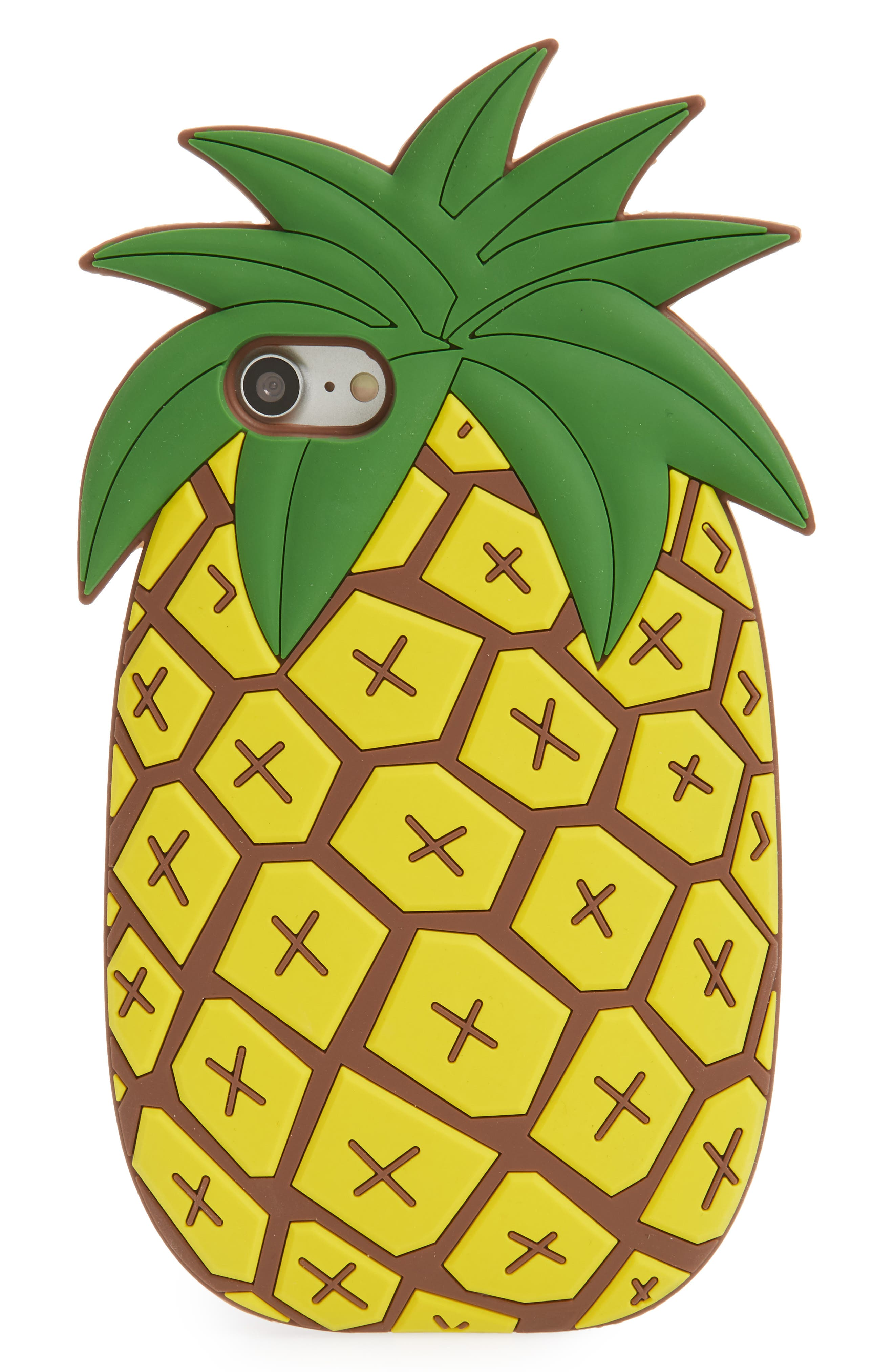 Oversize Soft Pineapple iPhone 7/8 Case,                             Main thumbnail 1, color,                             Yellow