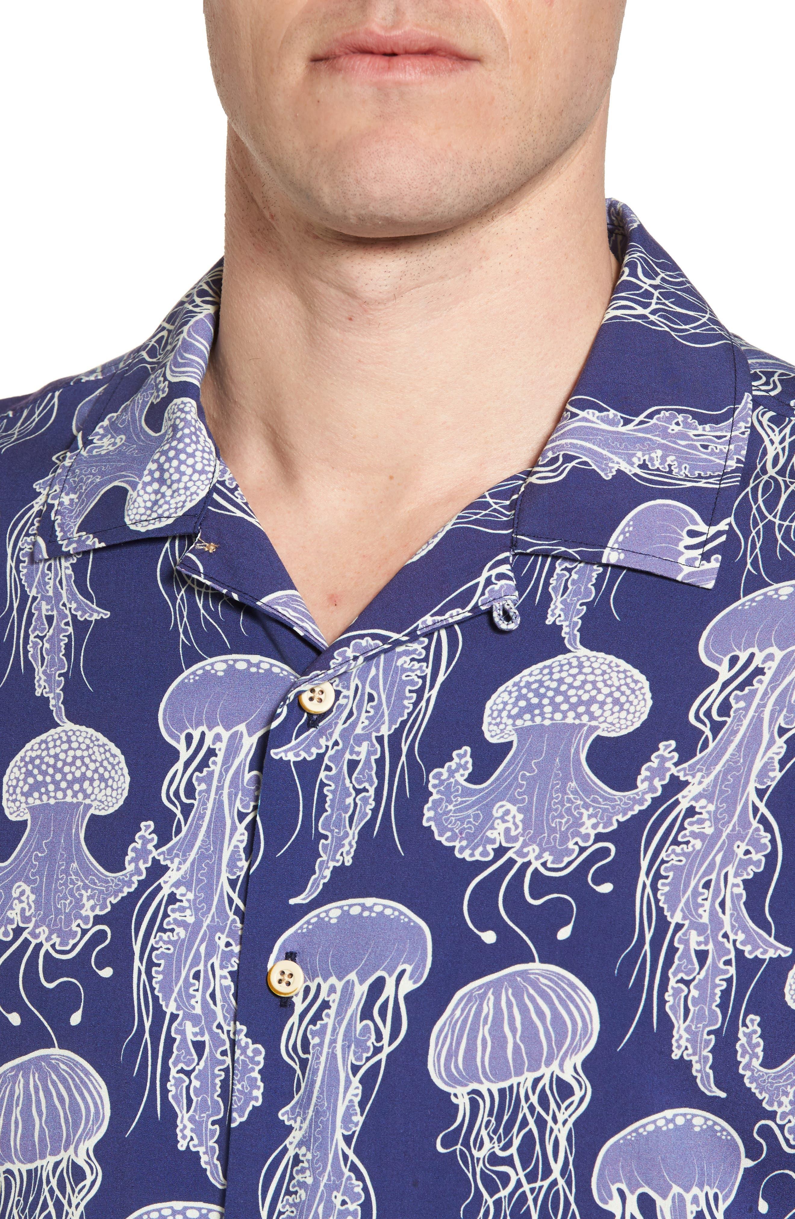 Jellyfish Print Camp Shirt,                             Alternate thumbnail 4, color,                             Grape