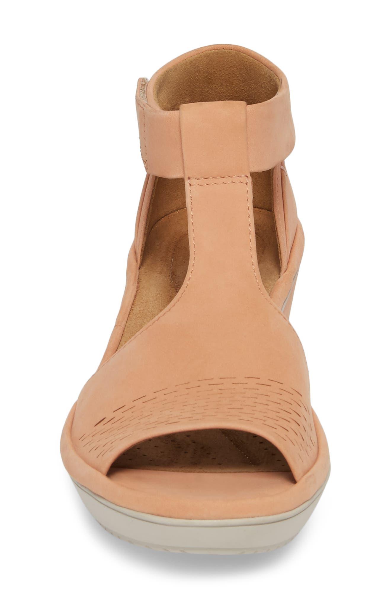 Wynnmere Avah T-Strap Wedge Sandal,                             Alternate thumbnail 4, color,                             Peach Nubuck