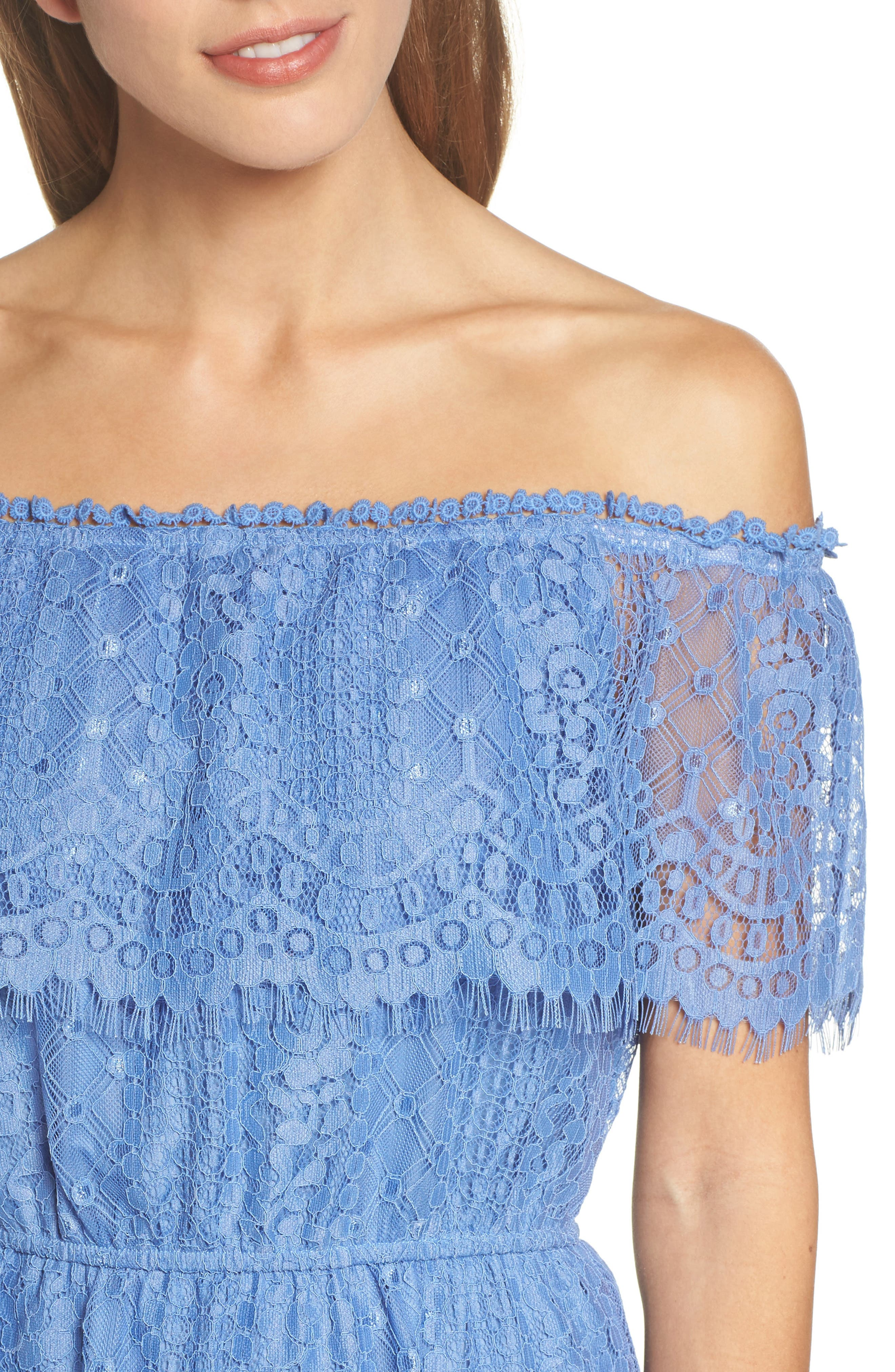 Zinnia Lace Ruffle Off the Shoulder Dress,                             Alternate thumbnail 4, color,                             French Blue