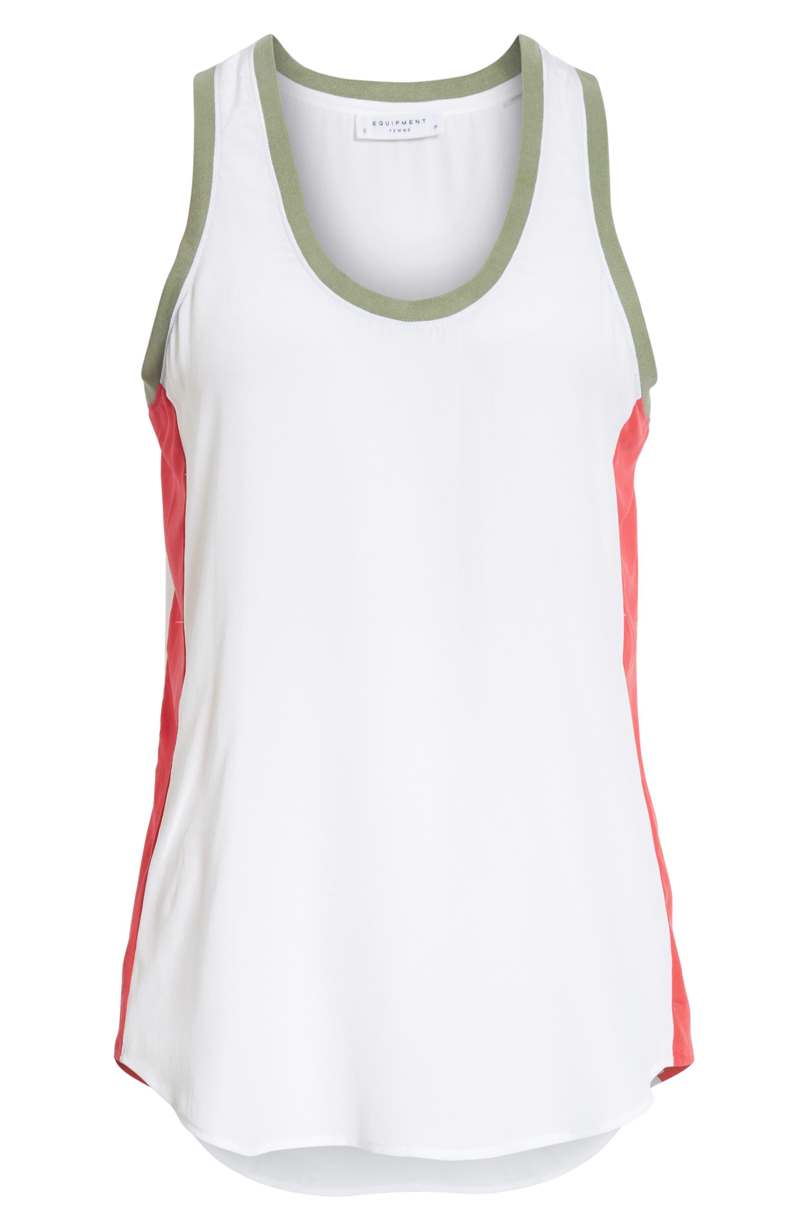 Mel Colorblock Silk Tank,                             Alternate thumbnail 6, color,                             Bright White