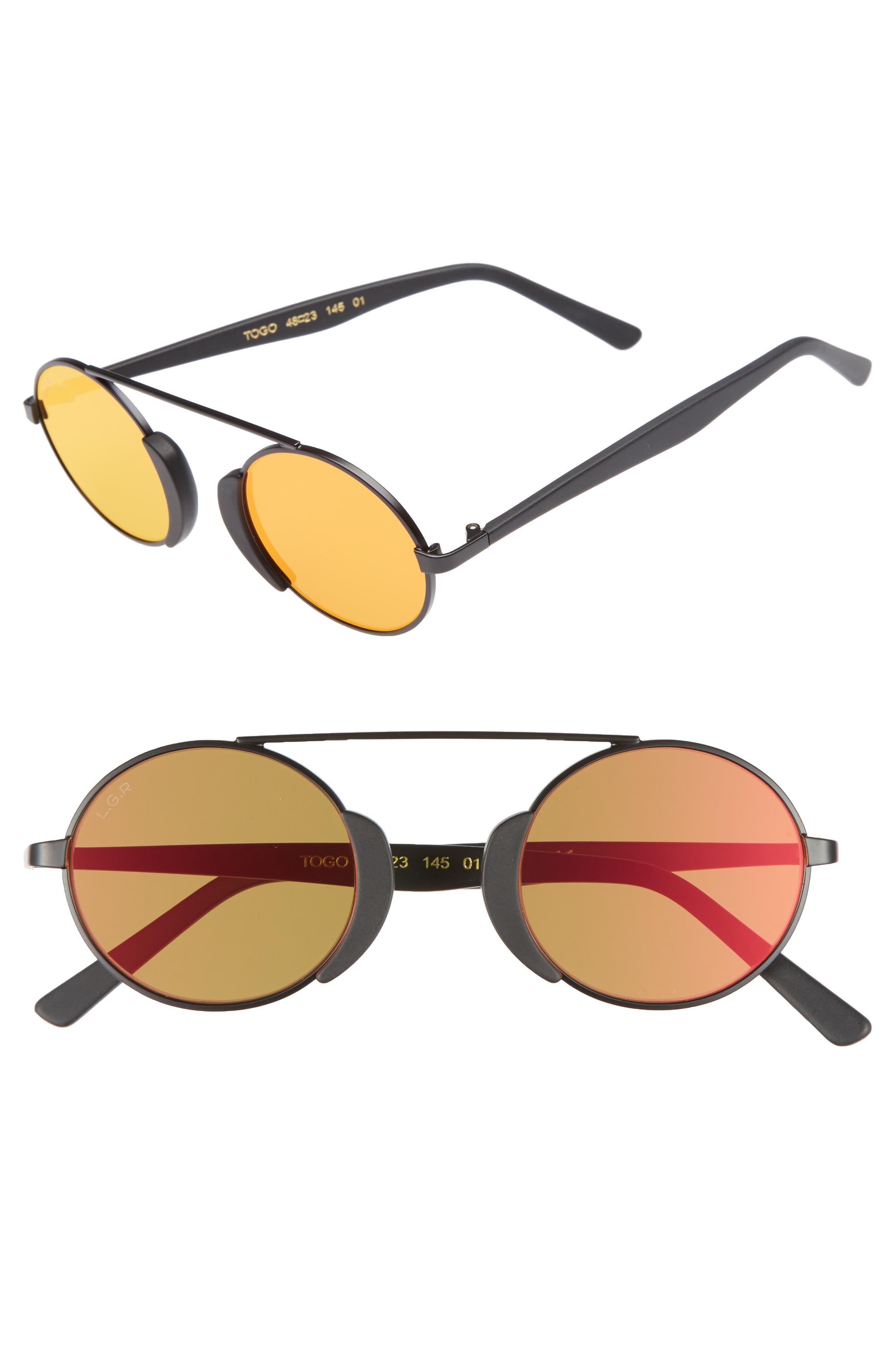Togo 48mm Sunglasses,                         Main,                         color, Black Matte/ Red Mirror