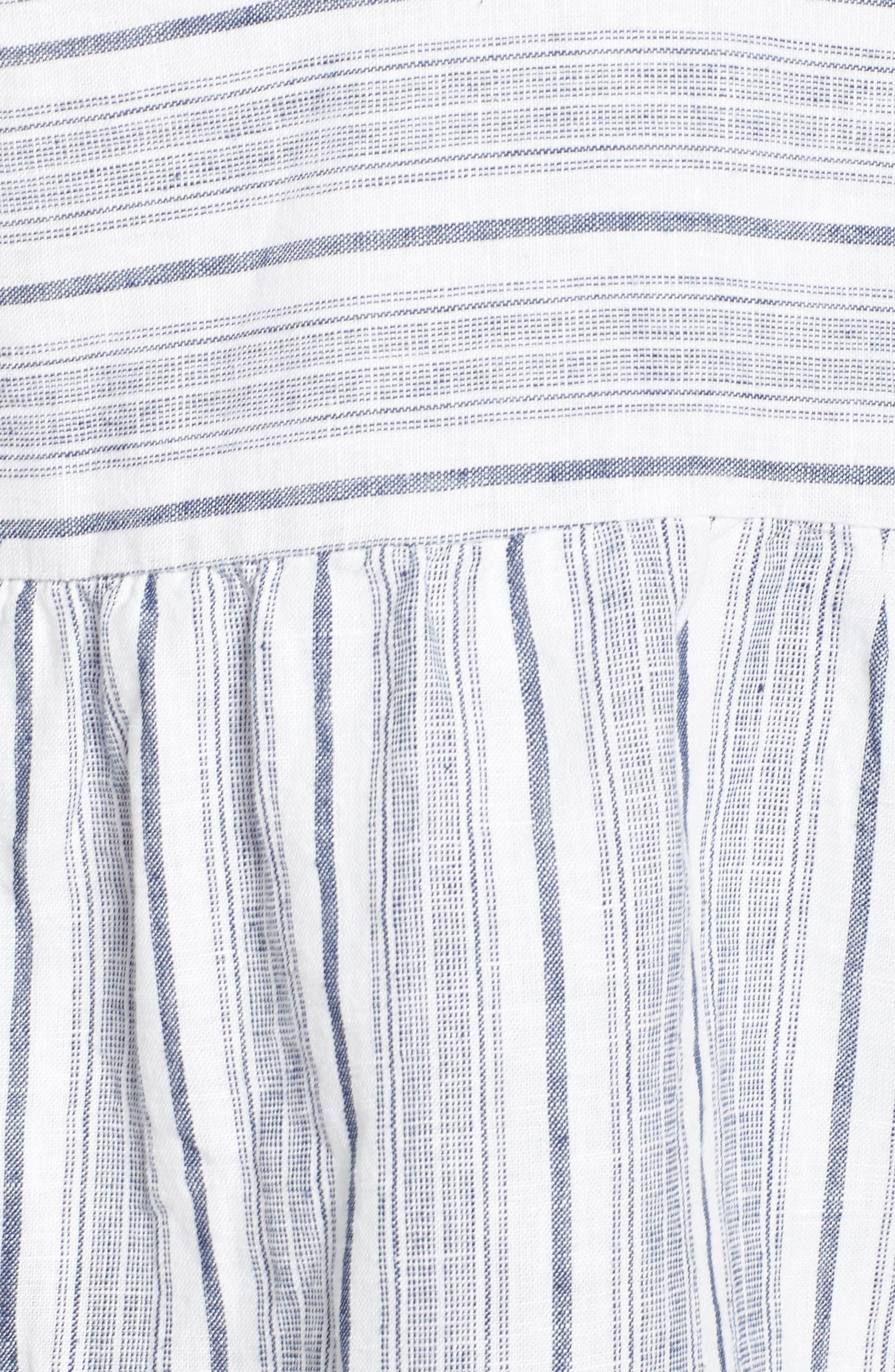 Stripe Fray Edge Linen Blend Top,                             Alternate thumbnail 5, color,                             Ivory- Navy Stripe