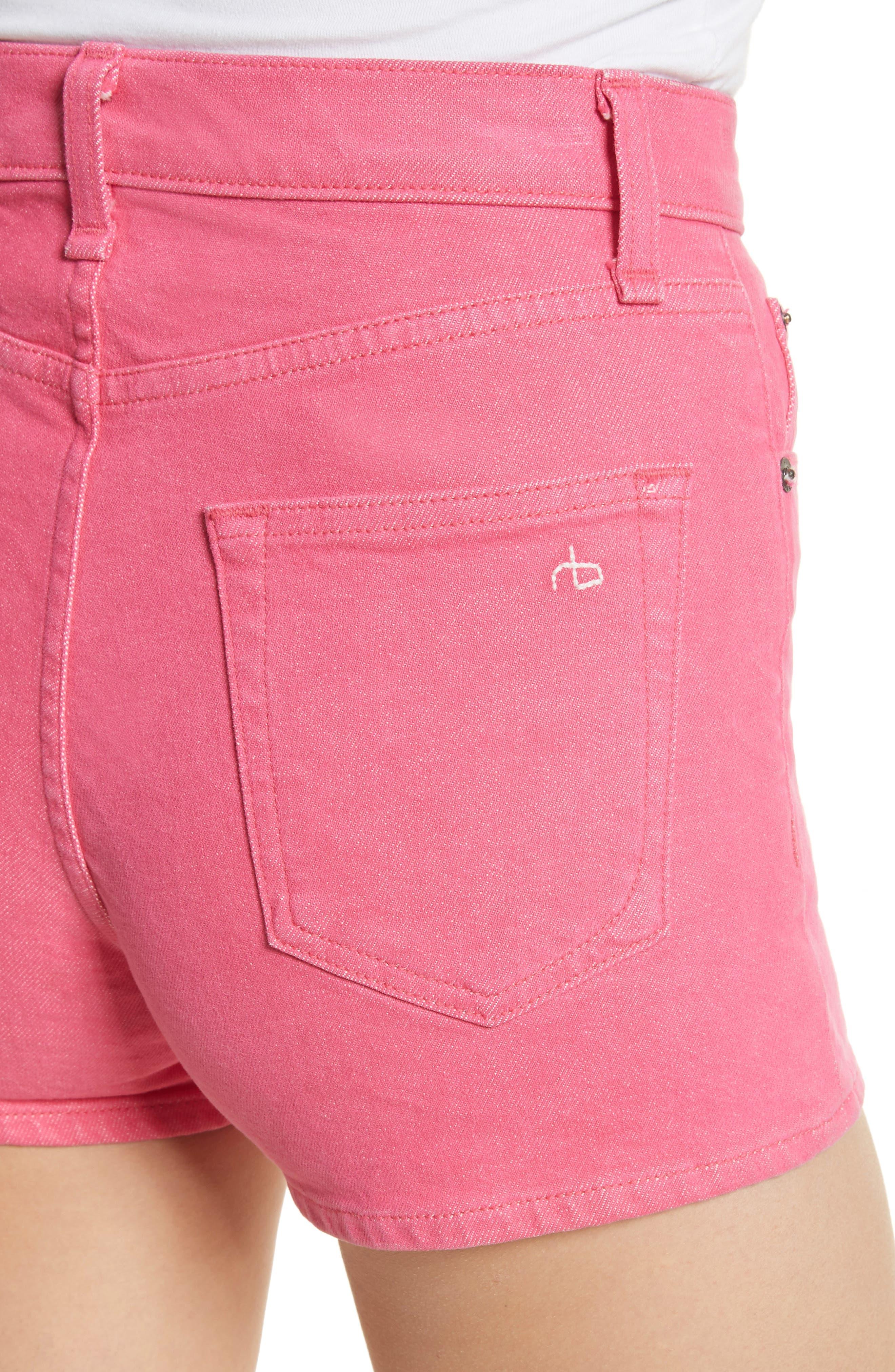 Justine High Waist Denim Shorts,                             Alternate thumbnail 4, color,                             Bull Pink