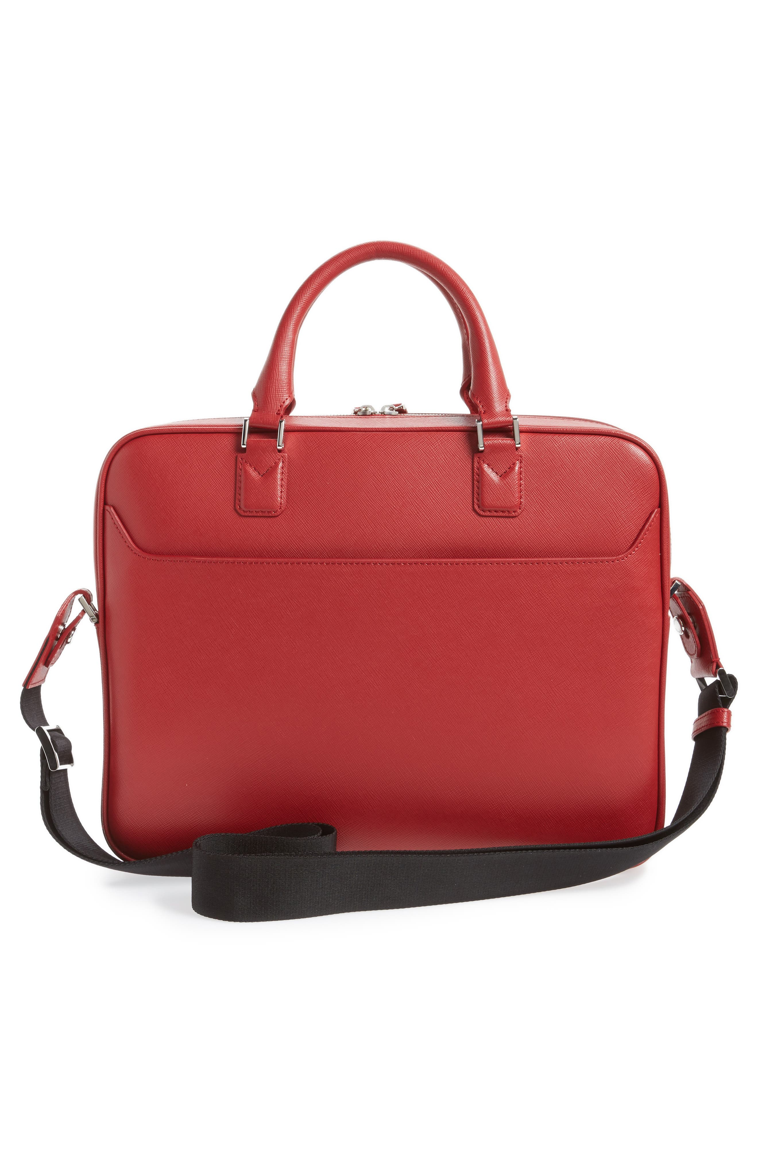 Sartorial Leather Briefcase,                             Alternate thumbnail 2, color,                             Red