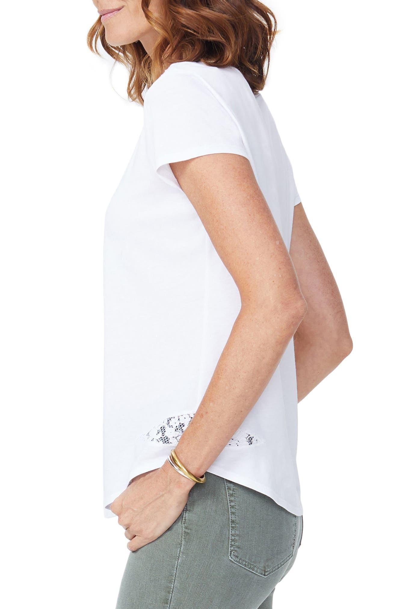 Lace Inset Short Sleeve Shirt,                             Alternate thumbnail 3, color,                             Optic White