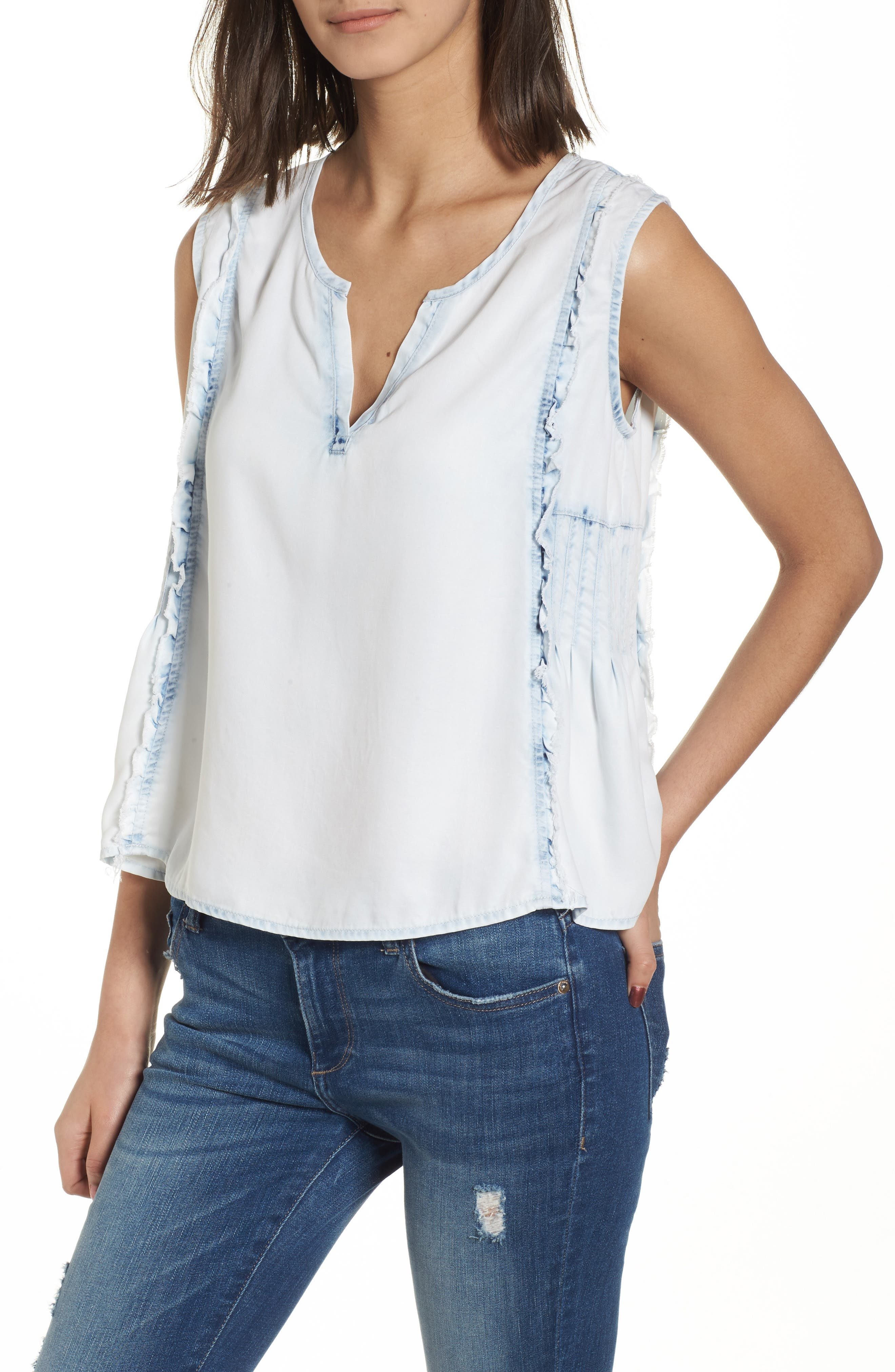 Mulberry St Chambray Top,                         Main,                         color, Irregular Bleach