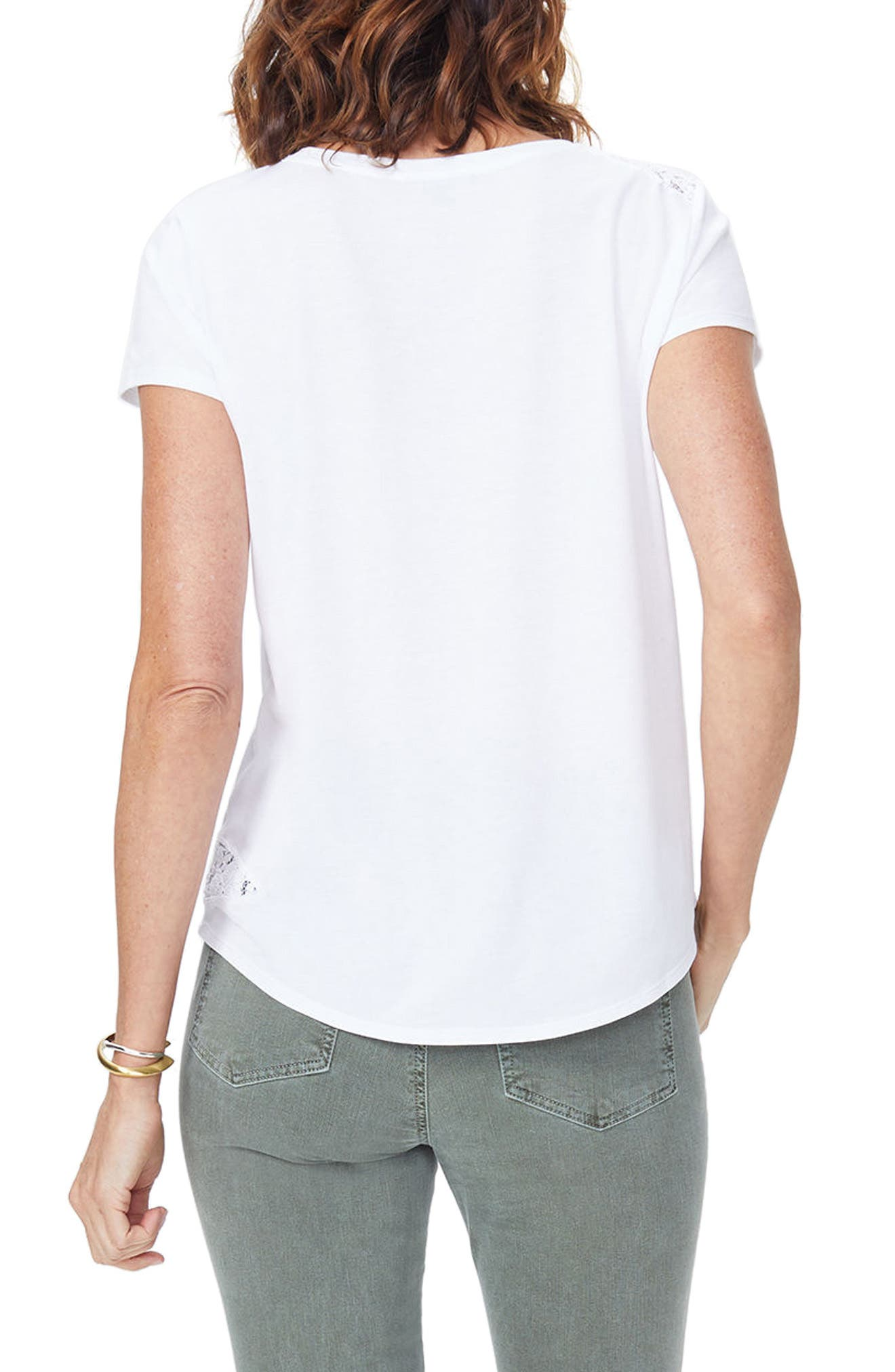 Lace Inset Short Sleeve Shirt,                             Alternate thumbnail 2, color,                             Optic White