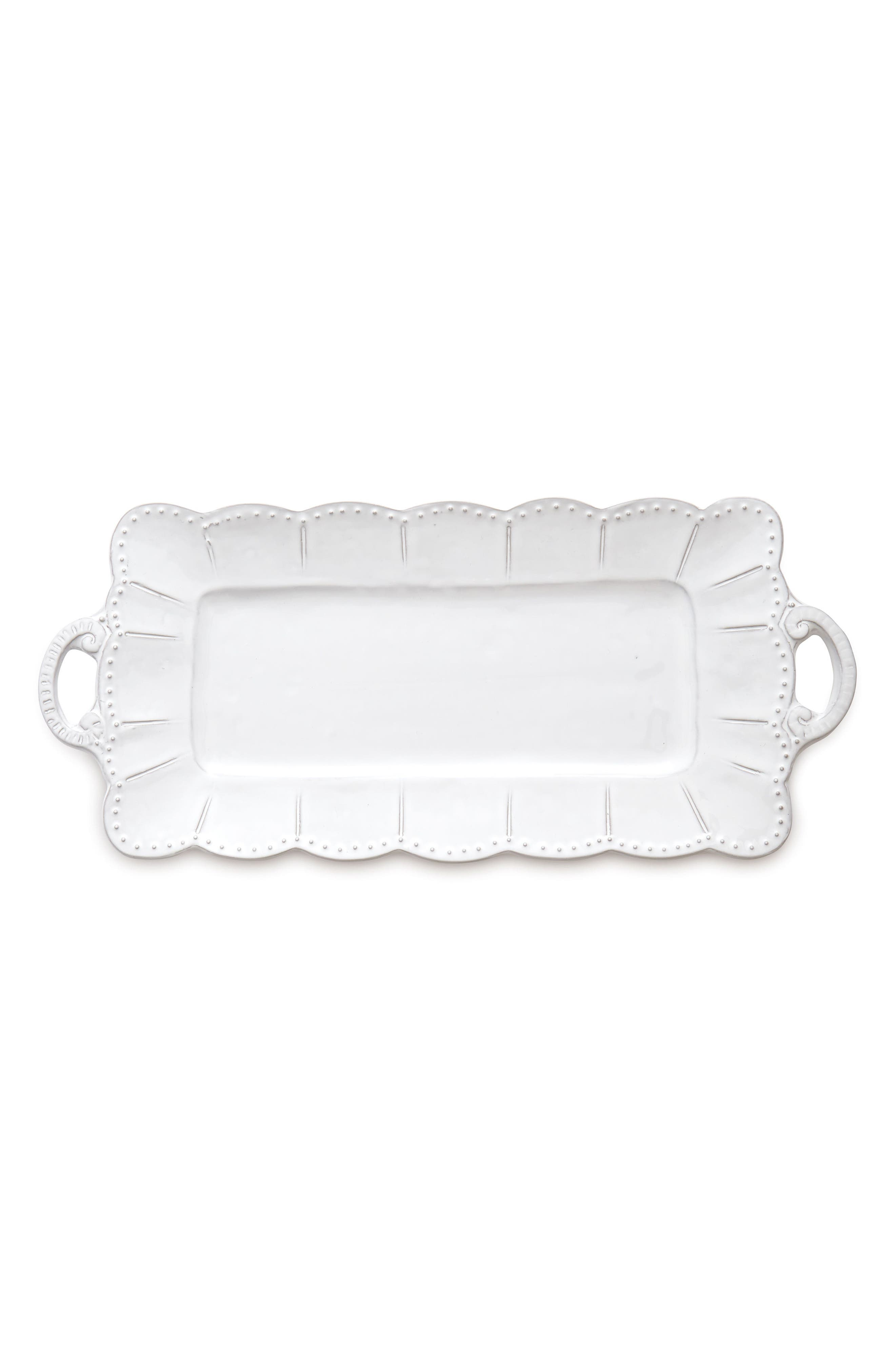 Bella Bianca Rectangular Stoneware Tray,                         Main,                         color, White