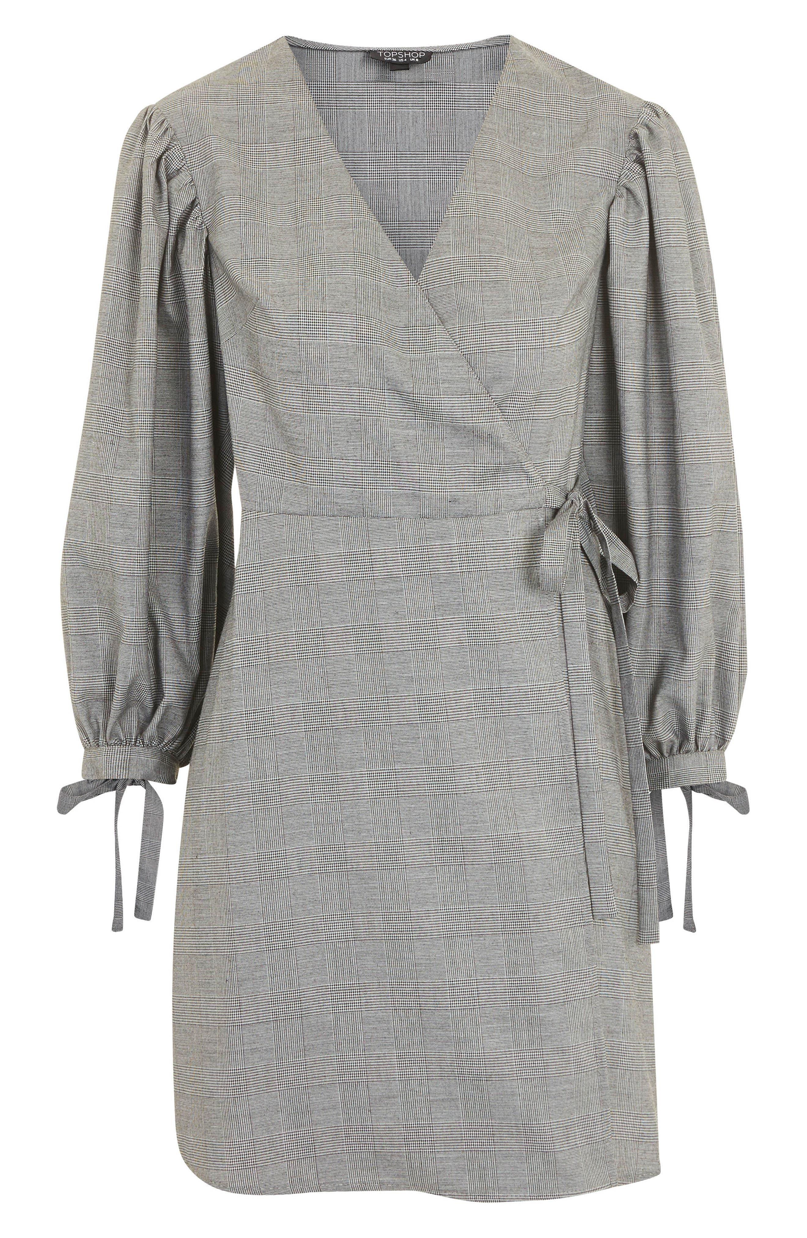 Tie Cuff Wrap Minidress,                             Alternate thumbnail 5, color,                             Grey Multi