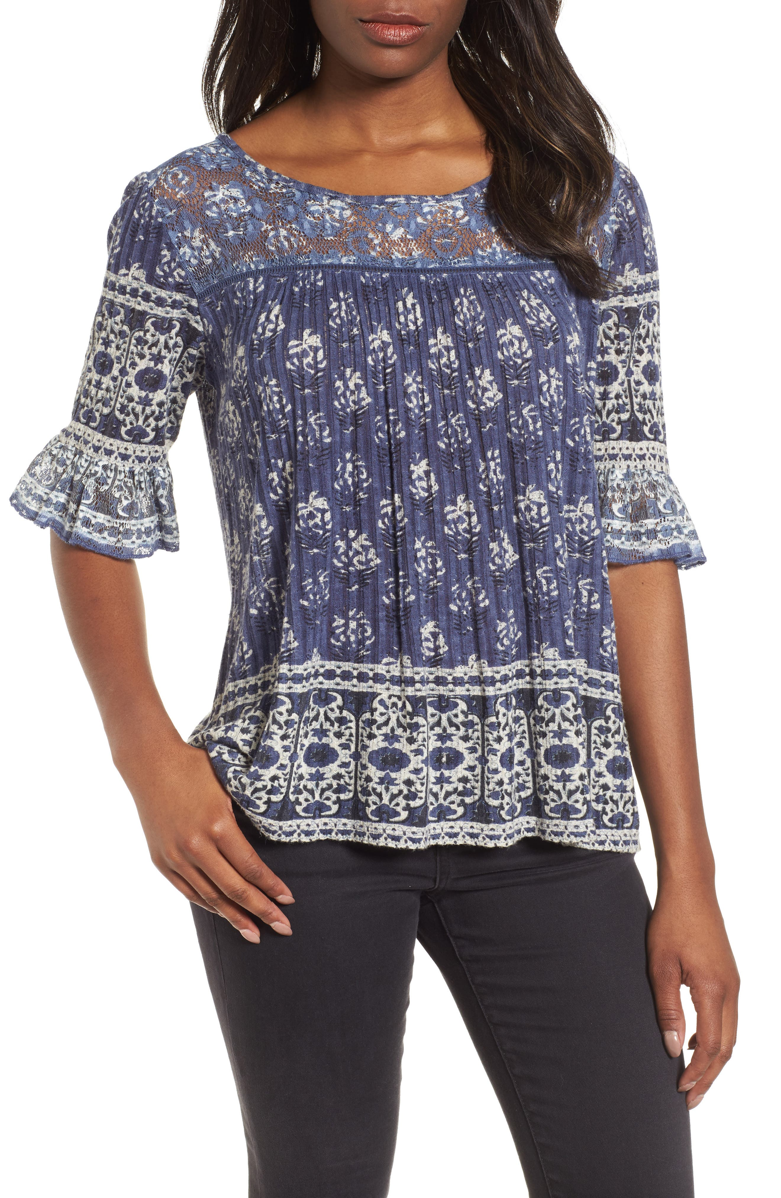 Blue and White Bell Sleeve Top,                         Main,                         color, Blue Multi