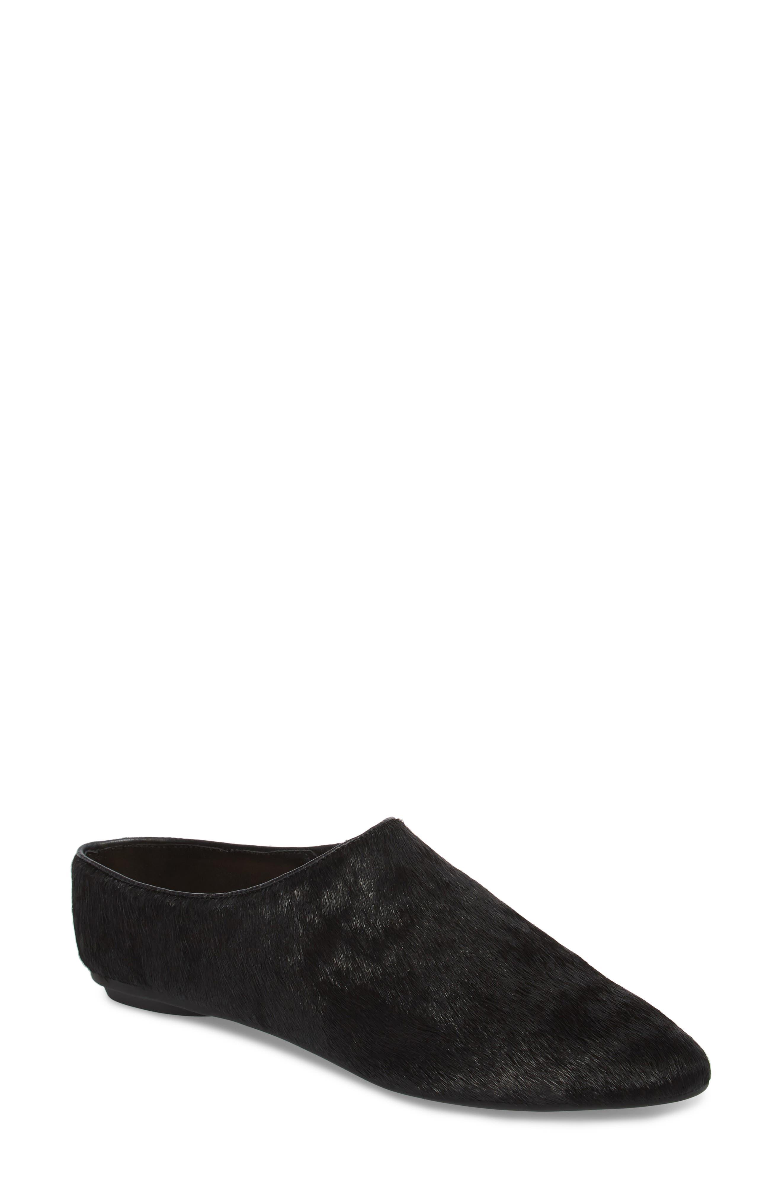 Elene Genuine Calf Hair Flat,                             Main thumbnail 1, color,                             Black Leather