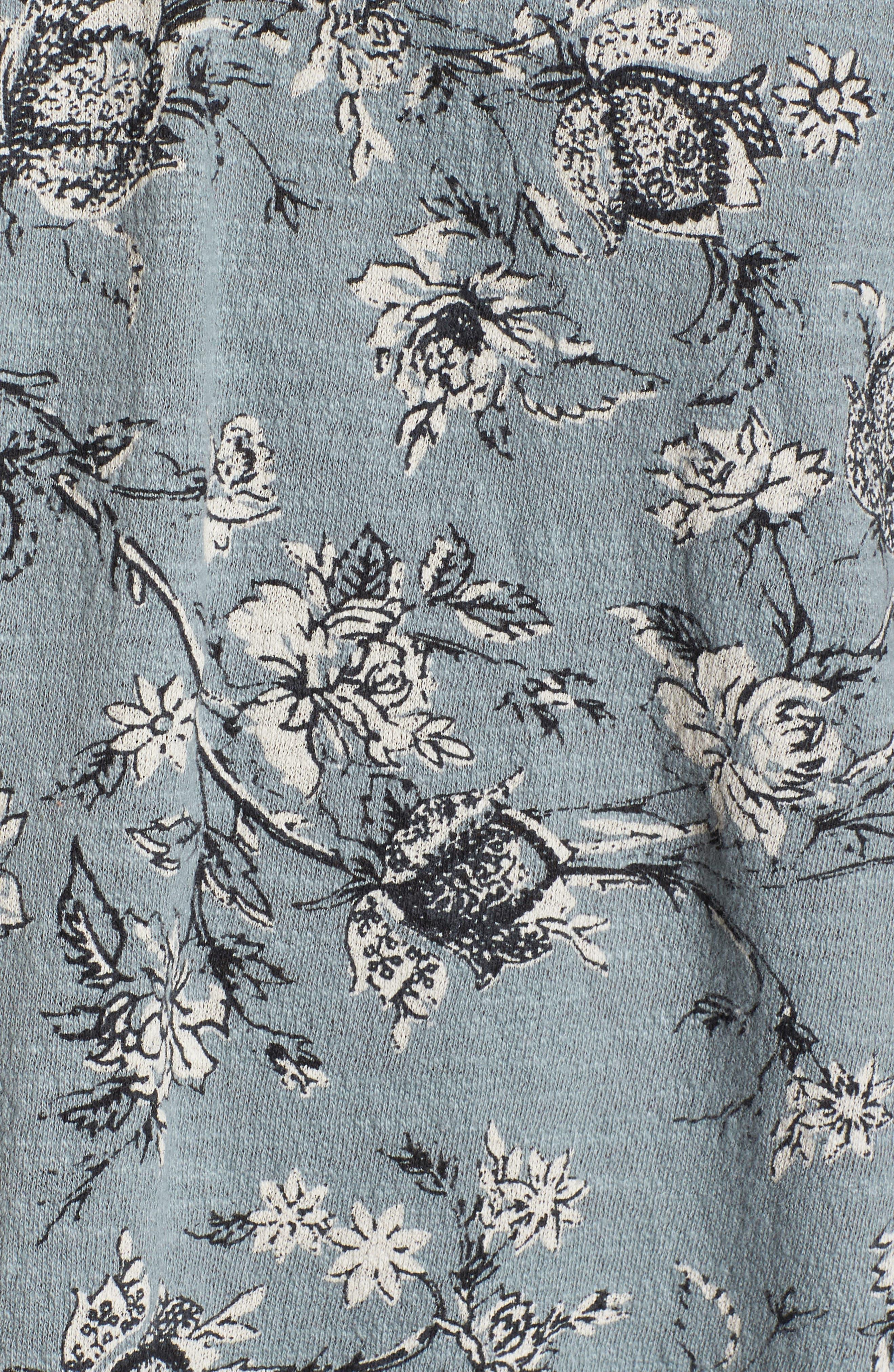 Floral Cold Shoulder Blouse,                             Alternate thumbnail 5, color,                             Blue Multi