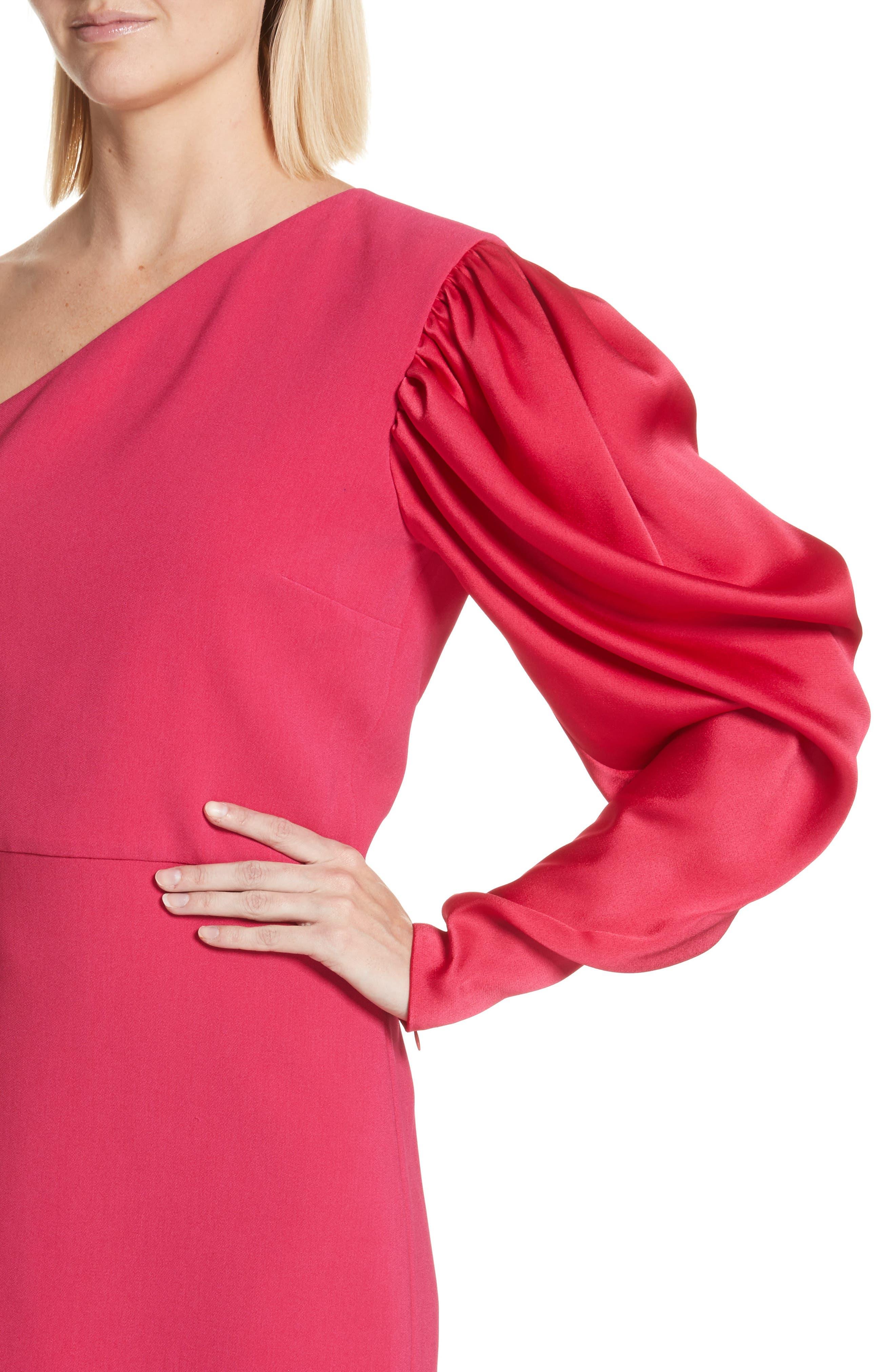 One-Shoulder Puff Sleeve Cady Dress,                             Alternate thumbnail 4, color,                             Bubble Gum