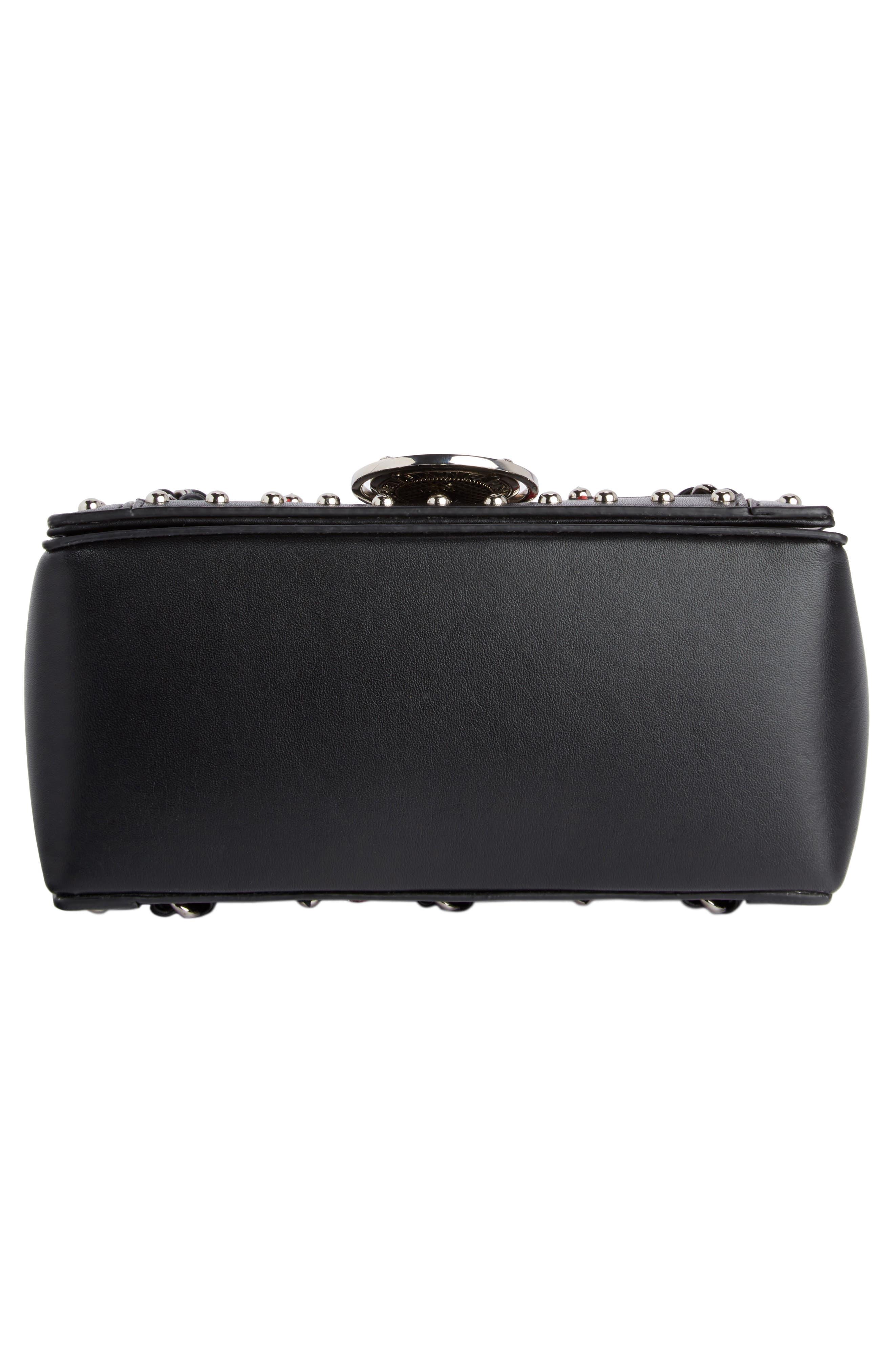 Baby Box Woven Leather Shoulder Bag,                             Alternate thumbnail 5, color,                             Noir/ Rouge/ Blanc