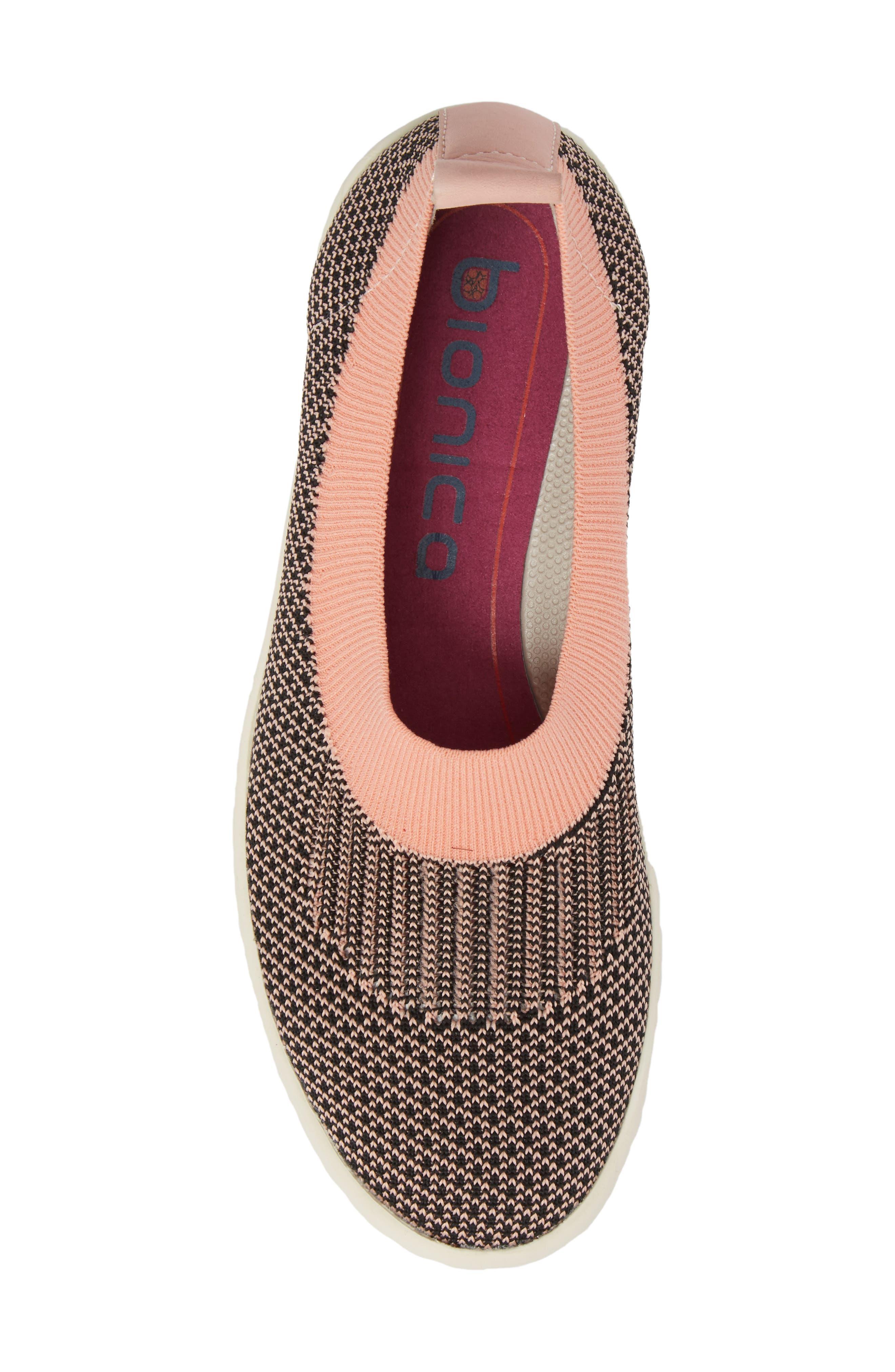 Merigold Slip-On Sock Fit Sneaker,                             Alternate thumbnail 5, color,                             Pink/ Black Knit Fabric