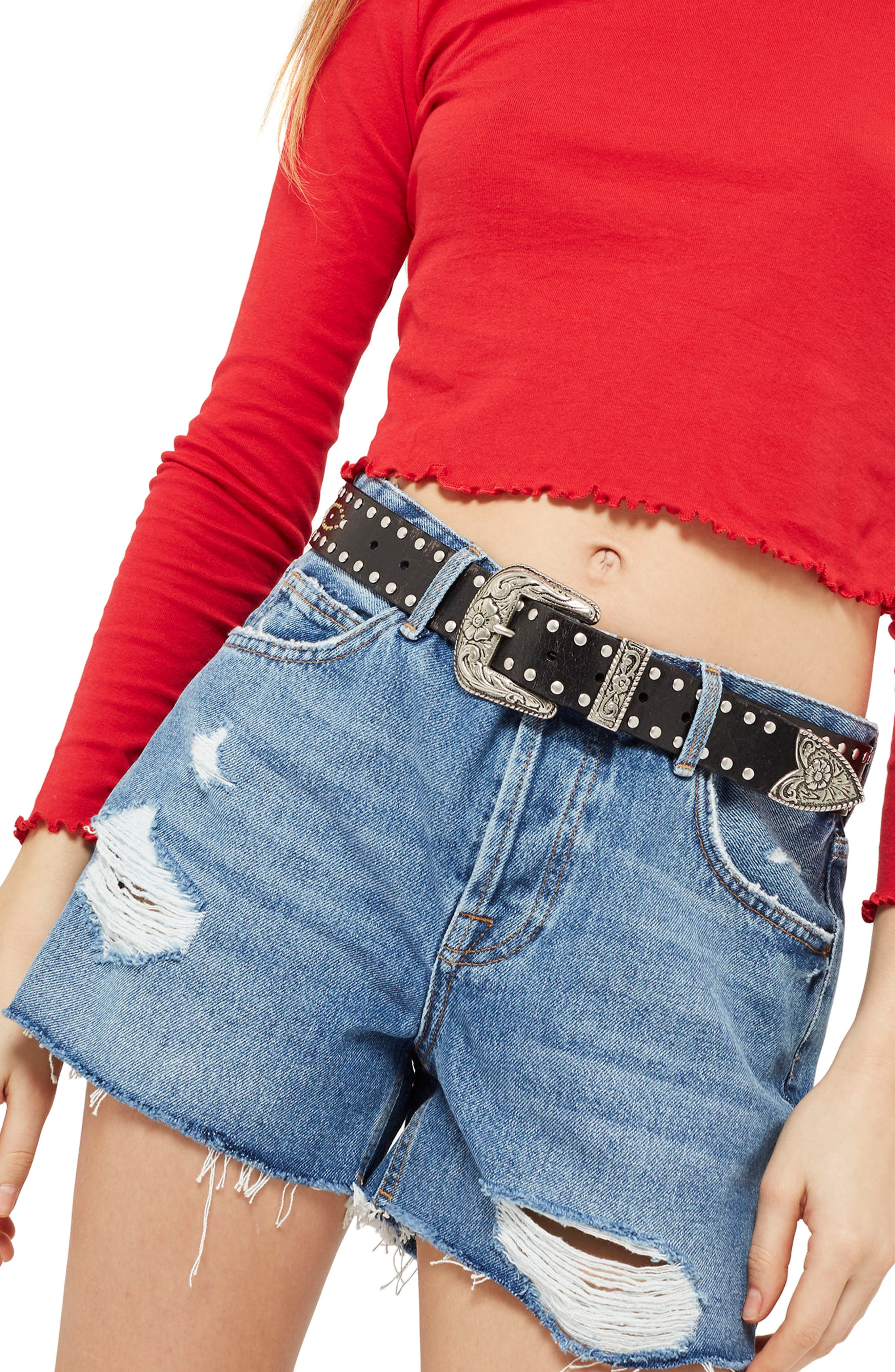 Topshop Ashley Ripped Denim Shorts