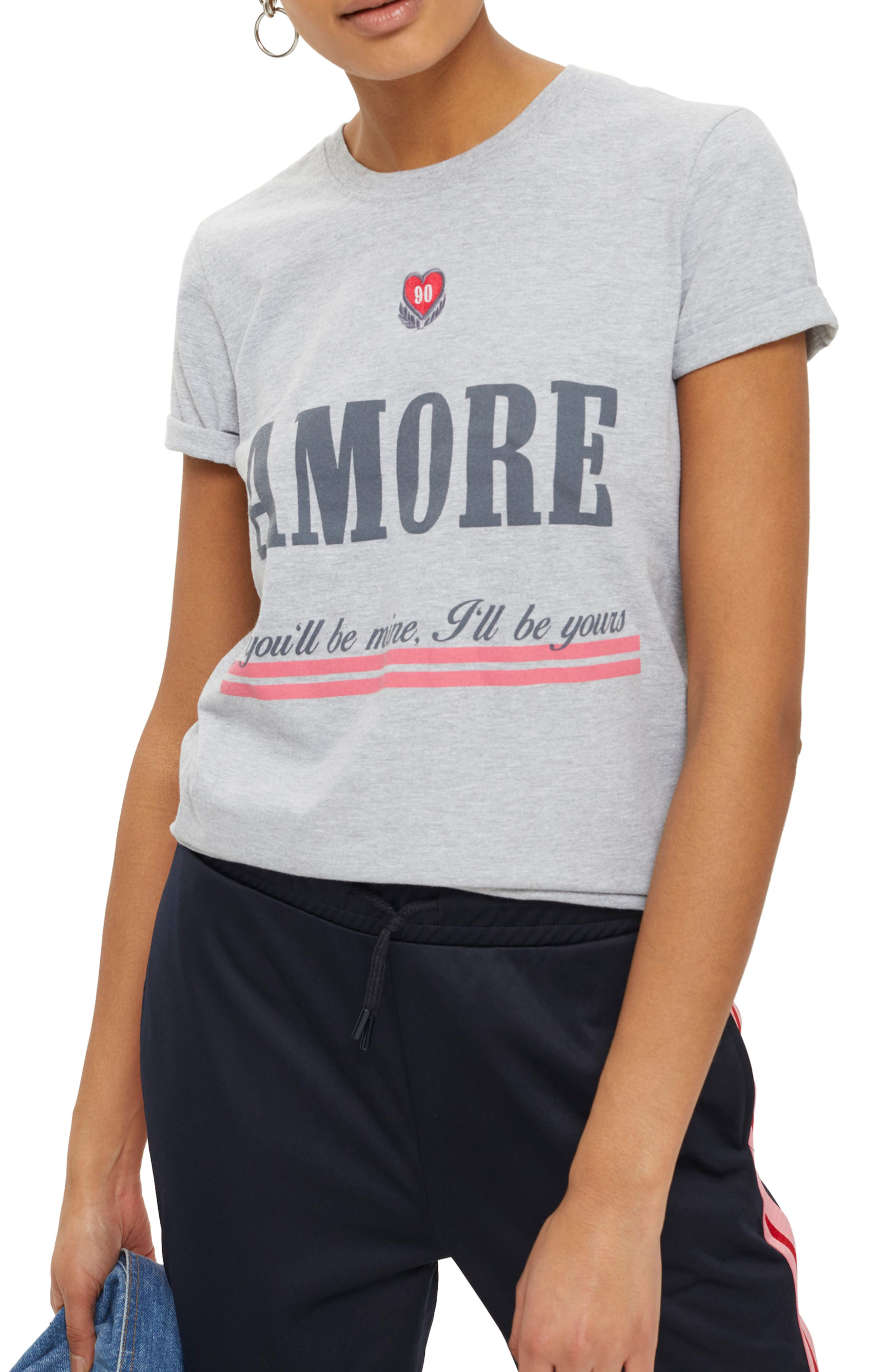 Embroidered Amore Graphic Tee,                             Main thumbnail 1, color,                             Grey Marl