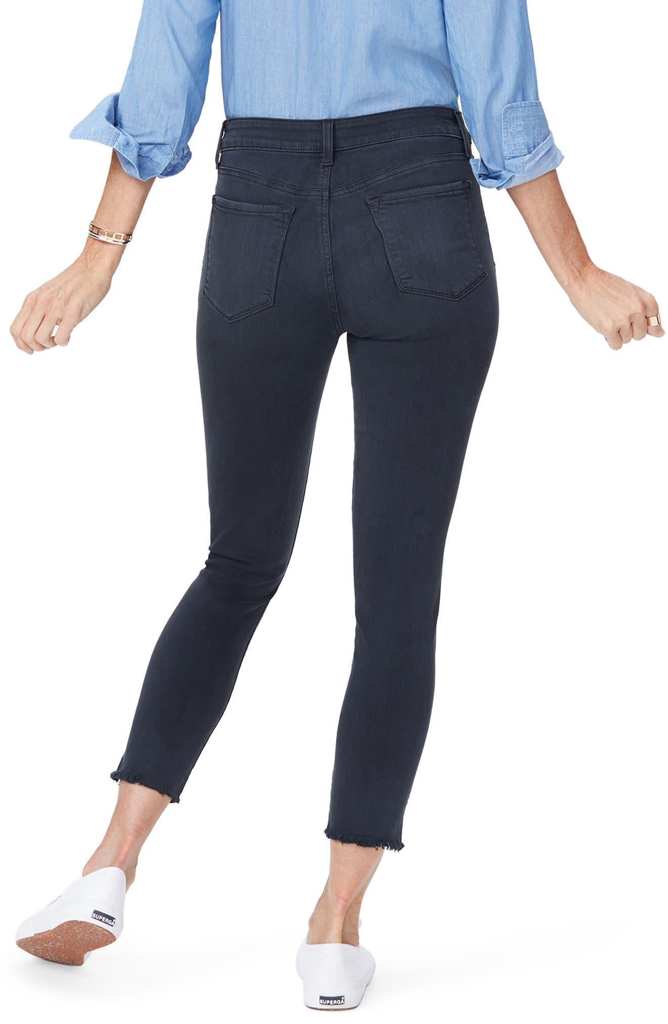 Ami Side Slit Fringe Hem Skinny Jeans,                             Alternate thumbnail 2, color,                             Deep Well