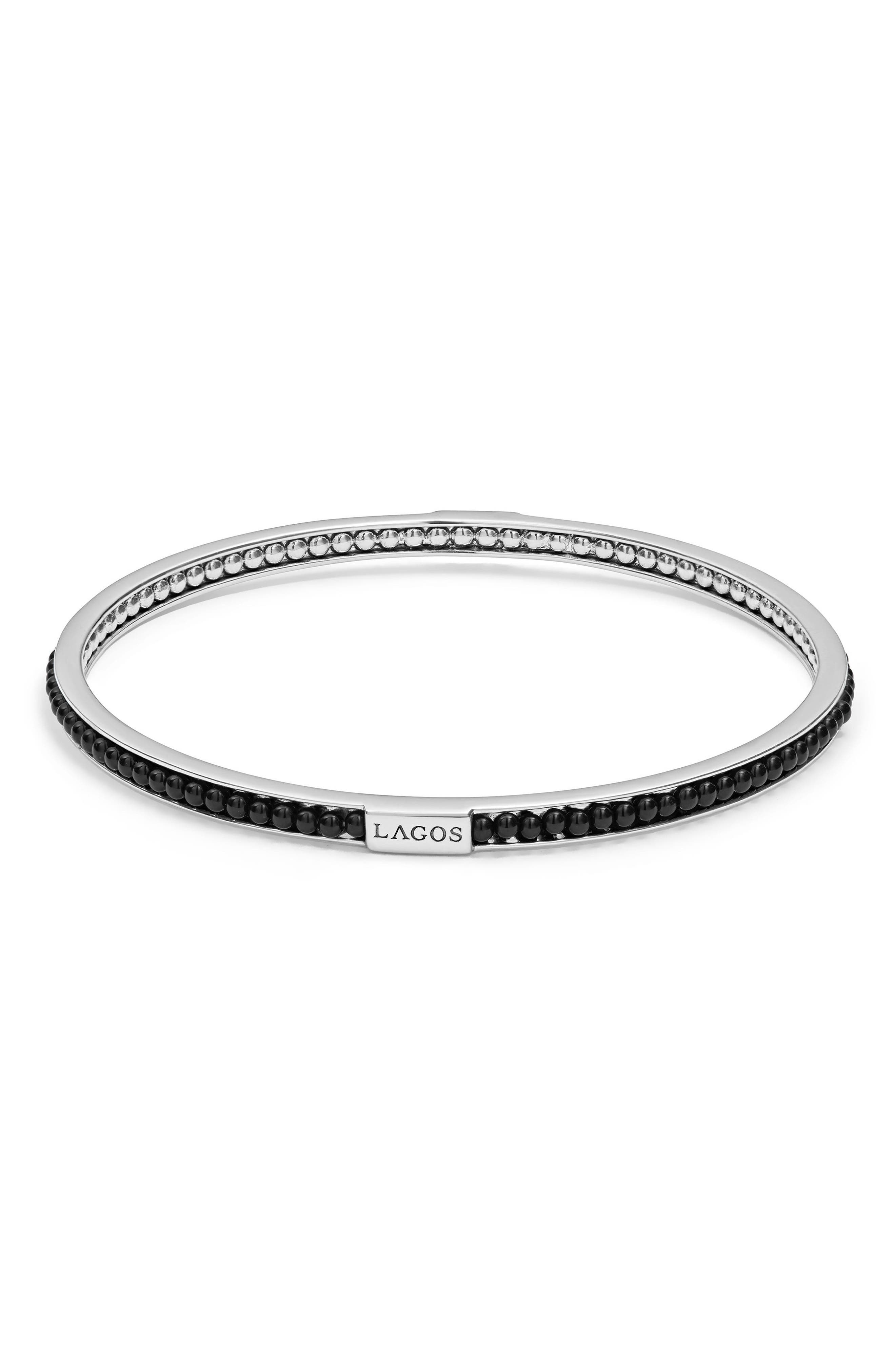 Caviar Icon Beaded Bangle Bracelet,                             Main thumbnail 1, color,                             Silver/ Onyx