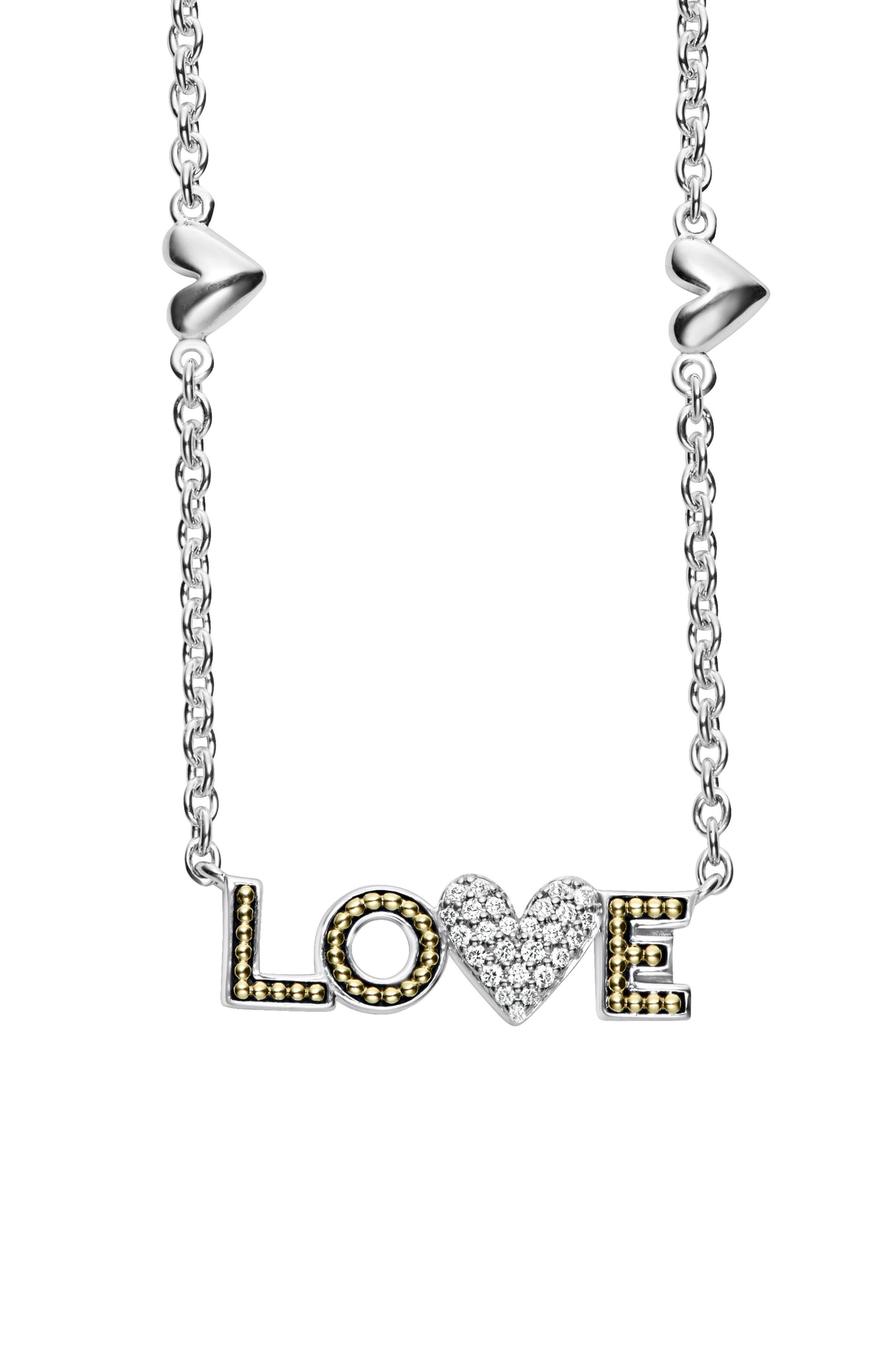 Beloved Diamond Love Pendant Necklace,                             Alternate thumbnail 3, color,                             Silver/ Diamond
