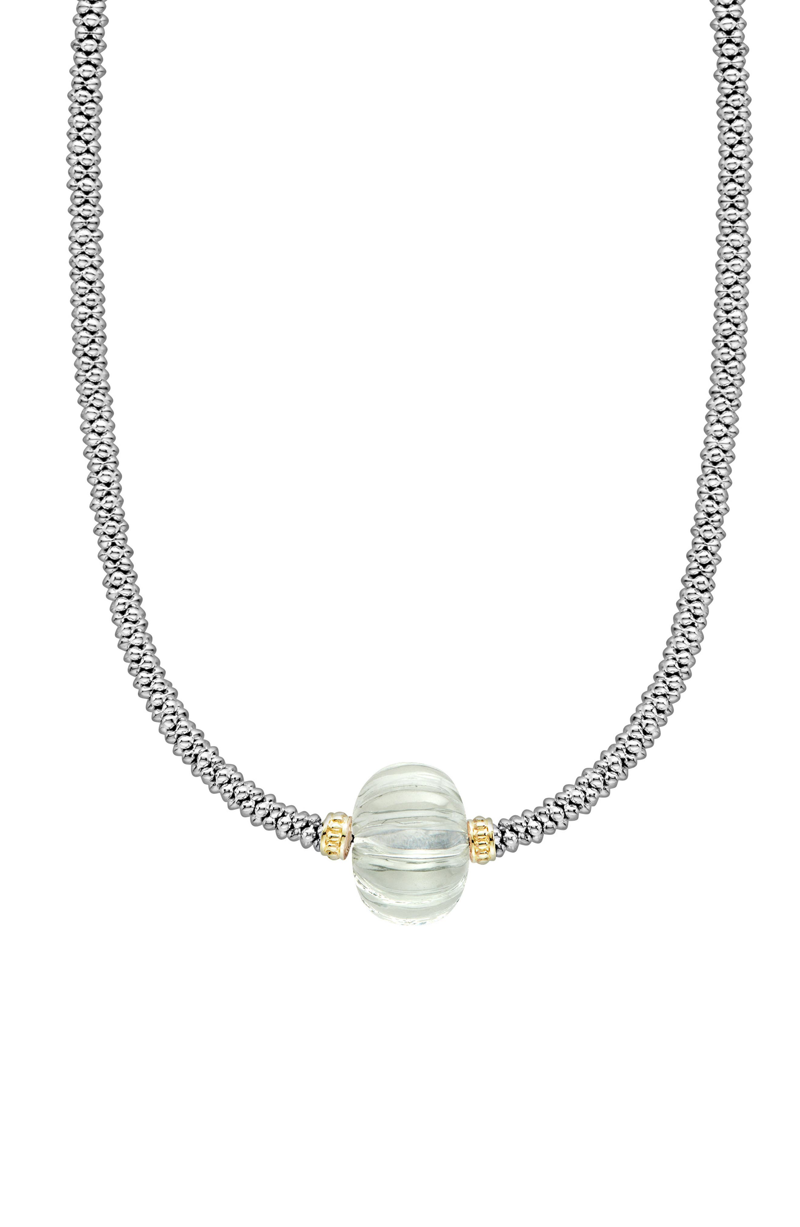 Caviar Forever Melon Bead Rope Necklace,                             Alternate thumbnail 3, color,                             Silver/ Green Amethyst