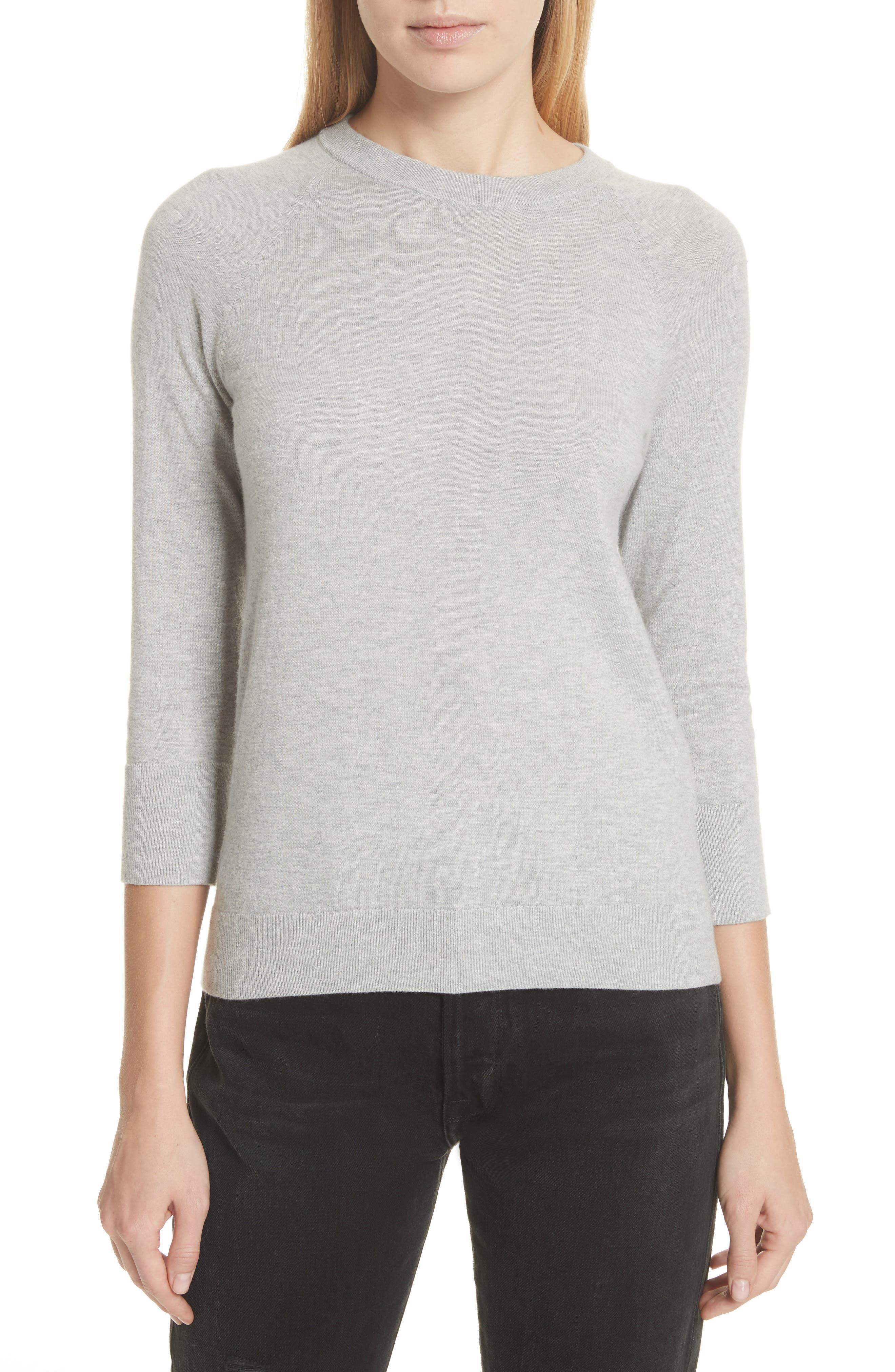 Cotton & Cashmere Sweater,                             Main thumbnail 1, color,                             Light Heather Grey
