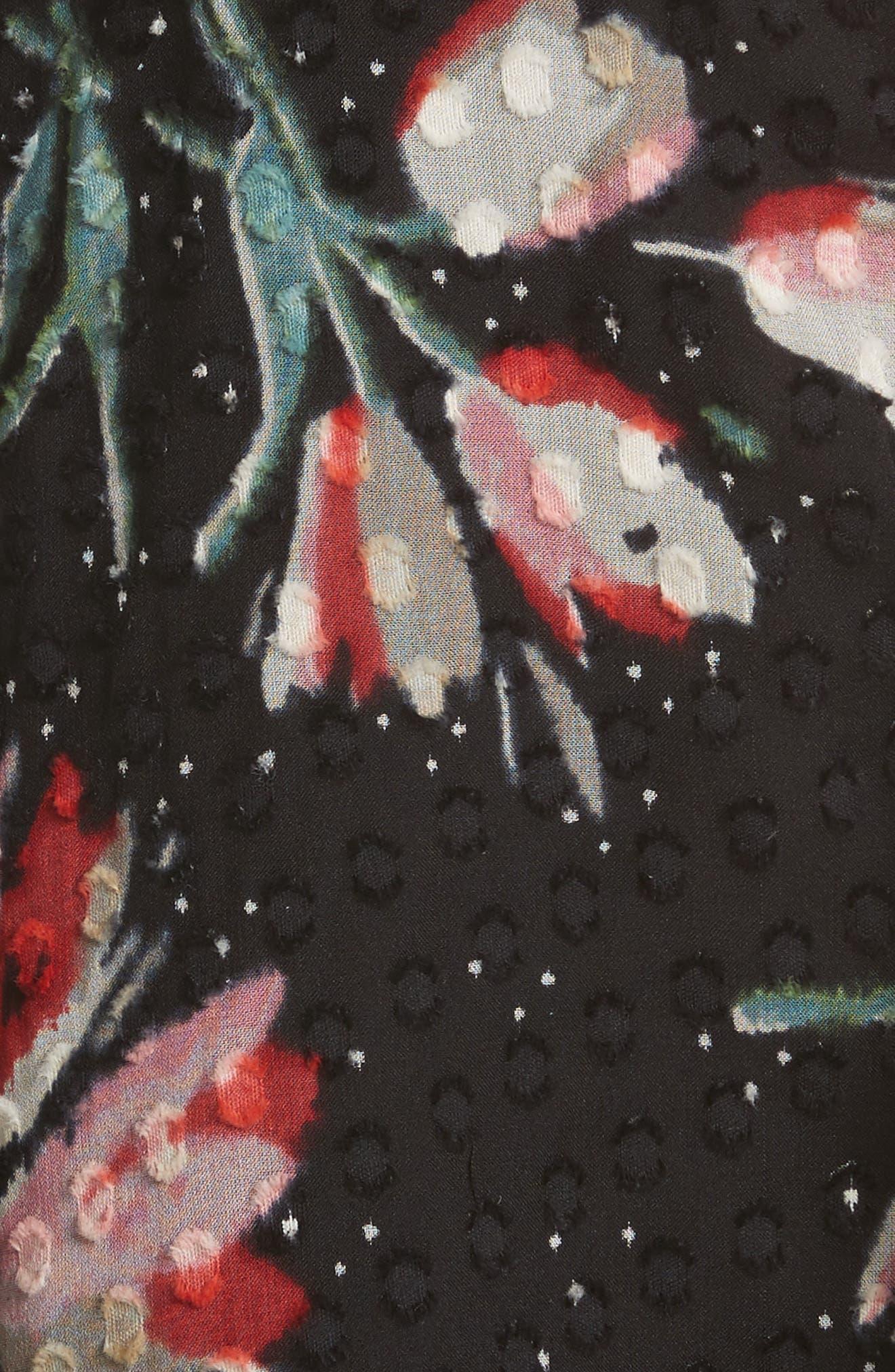 Smocked Sleeveless Top,                             Alternate thumbnail 5, color,                             Black Combo