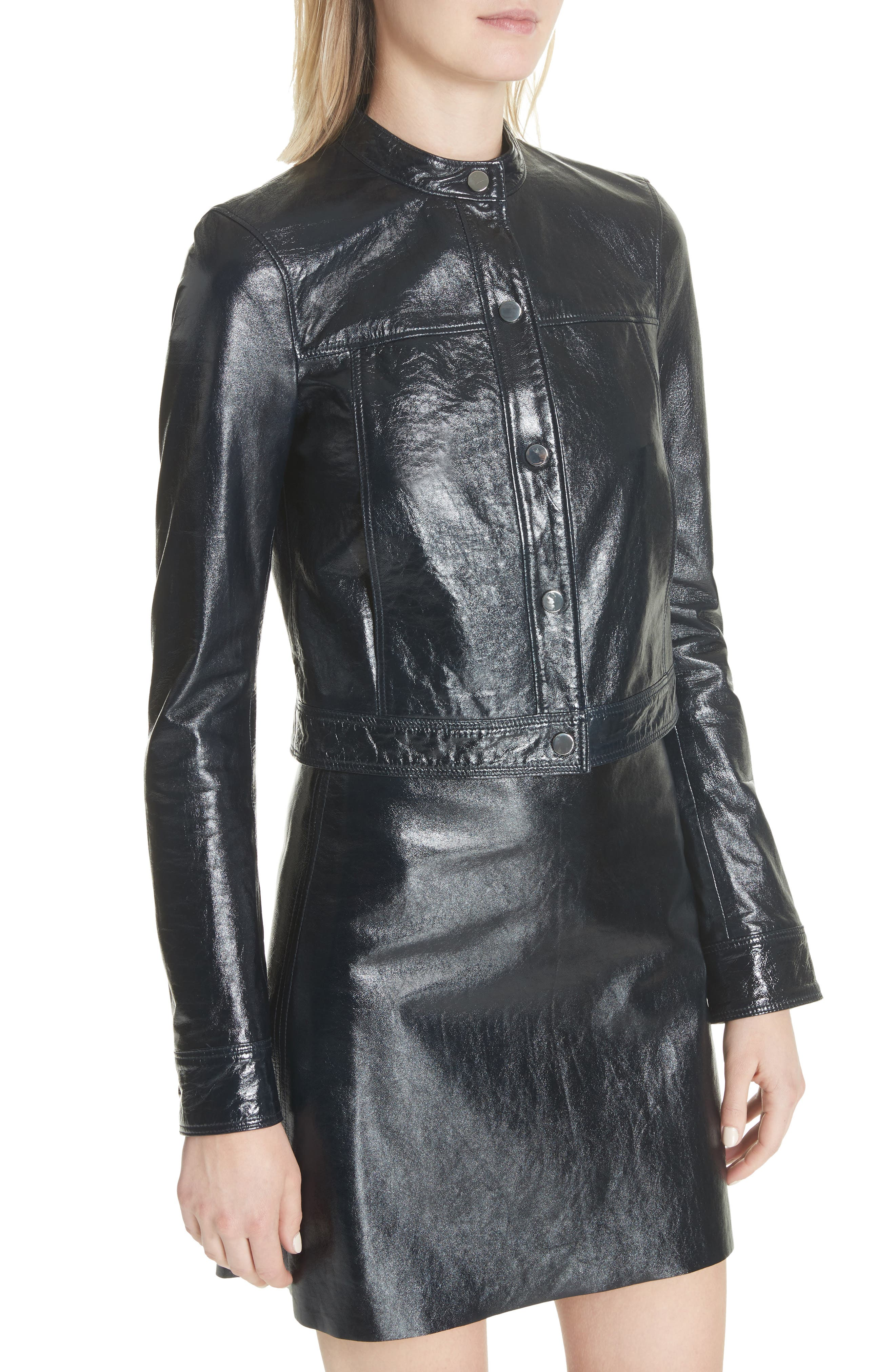 Crinkled Patent Leather Bomber Jacket,                             Alternate thumbnail 4, color,                             Abyss