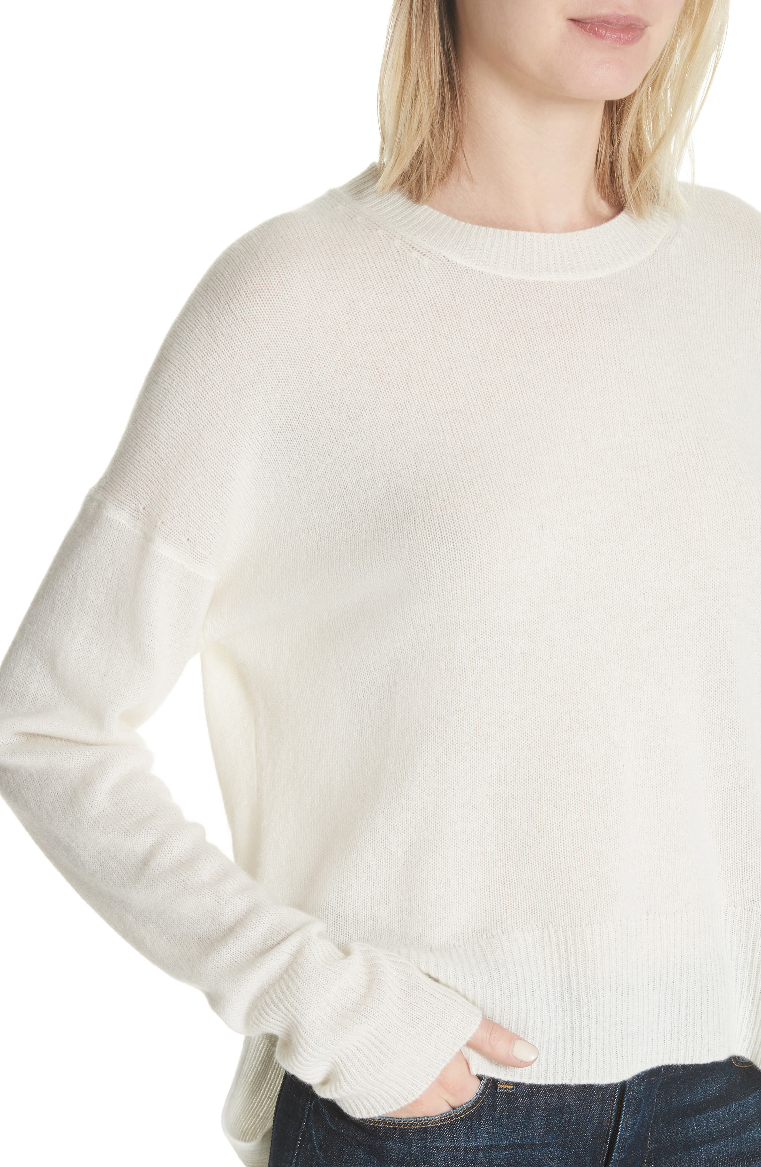 Karenia L Cashmere Sweater,                             Alternate thumbnail 4, color,                             Ivory