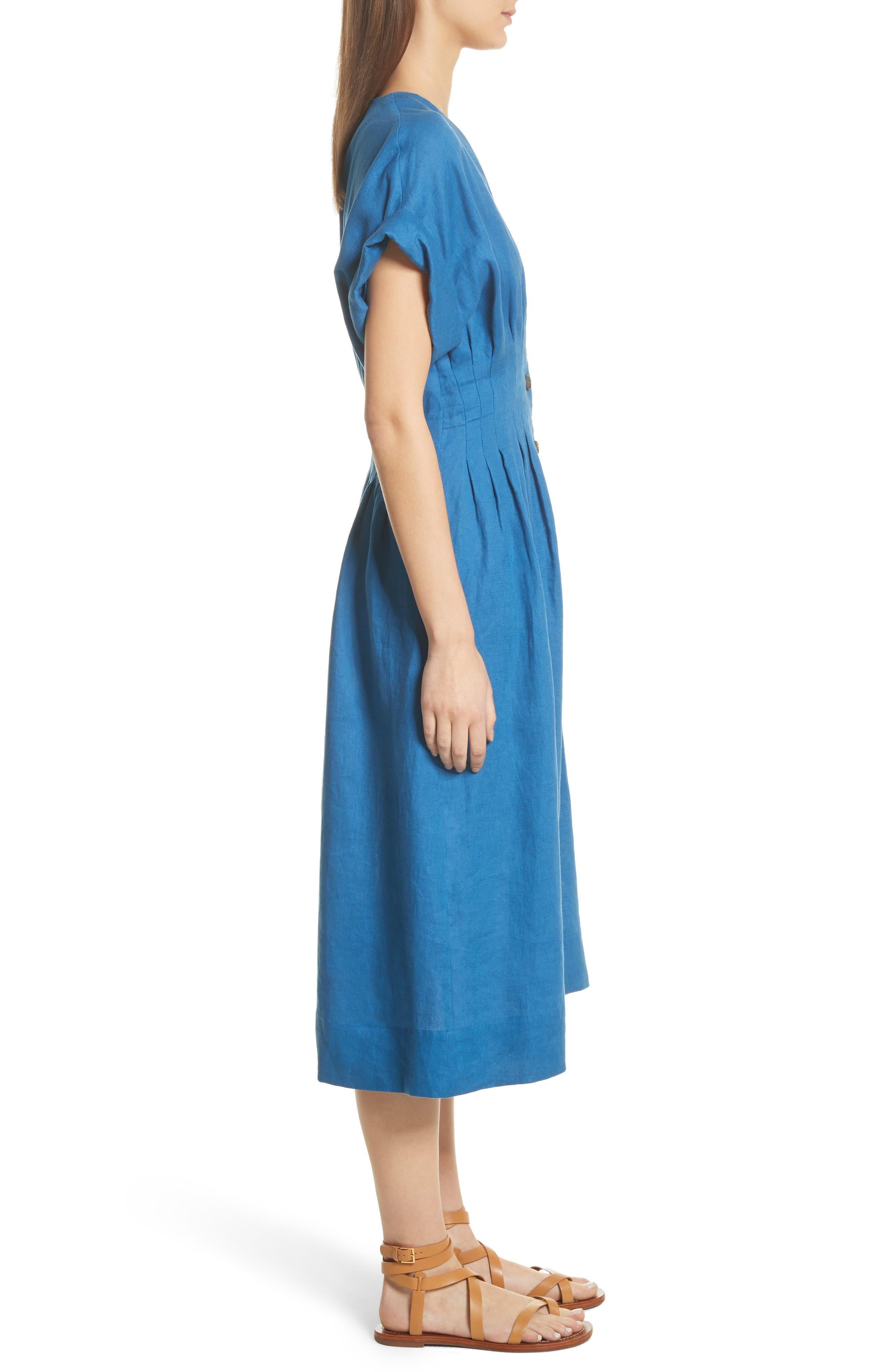 Coraline Pleated Button Front Linen Dress,                             Alternate thumbnail 3, color,                             Blue