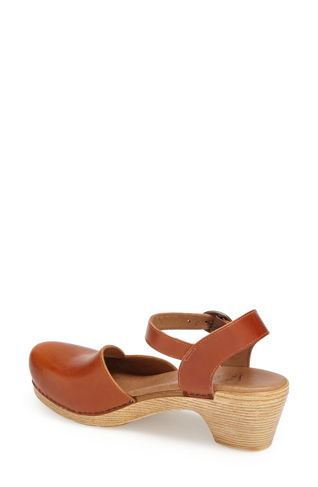'Maisie' Ankle Strap Leather Pump,                             Alternate thumbnail 4, color,                             Toffee