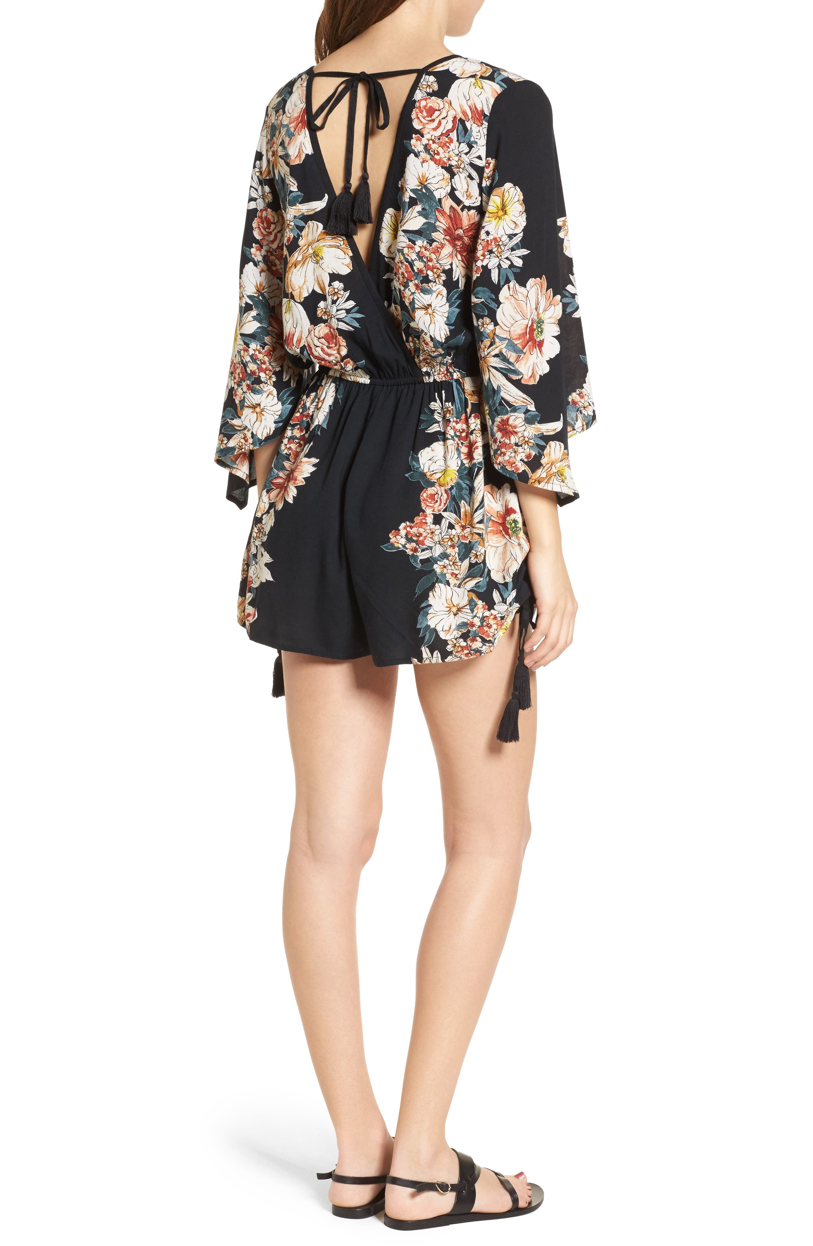 Floral Print Surplice Romper,                             Alternate thumbnail 2, color,                             Black/ Rust