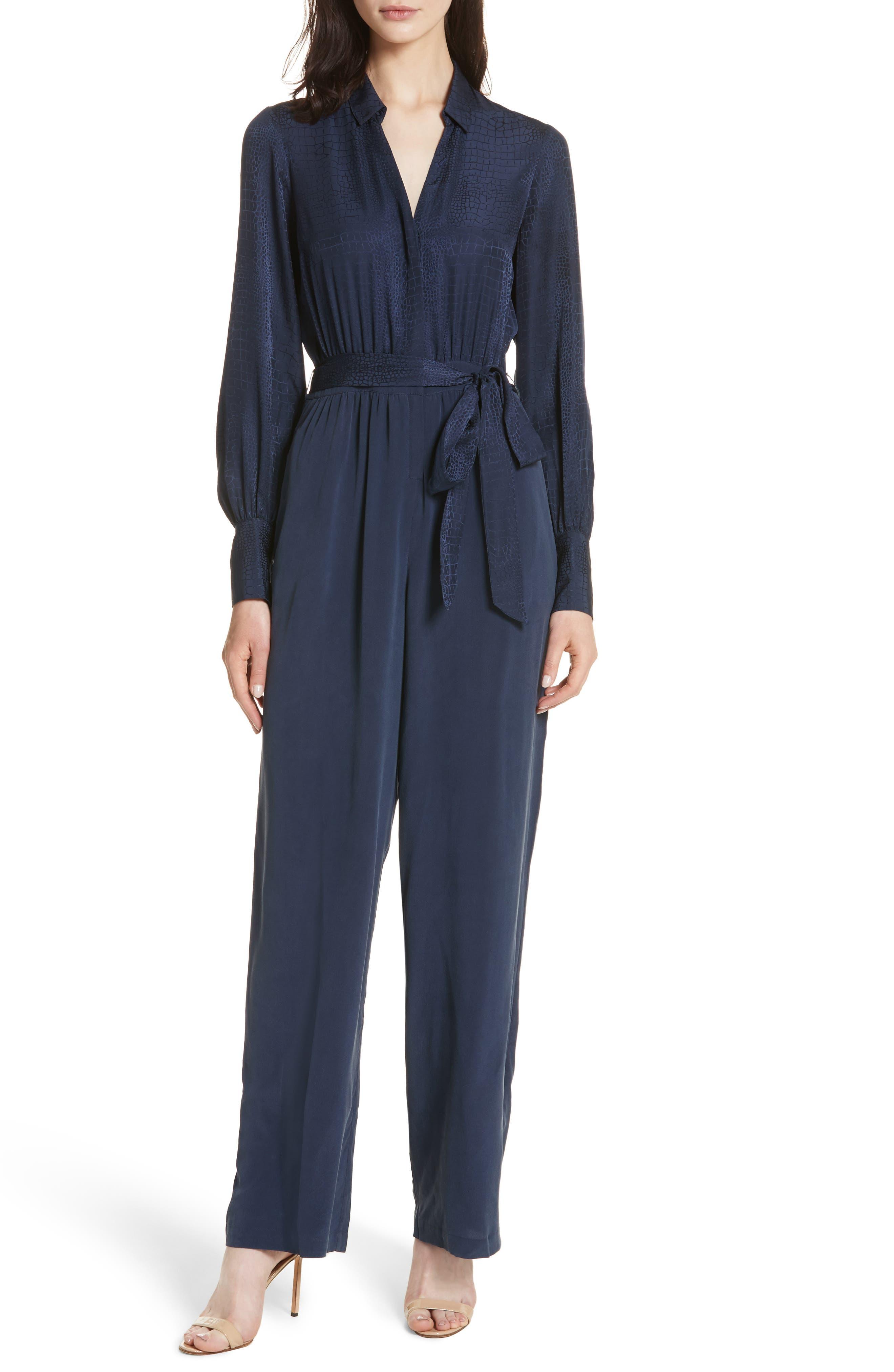 Justine Crocodile Print Silk Jumpsuit,                         Main,                         color, Navy