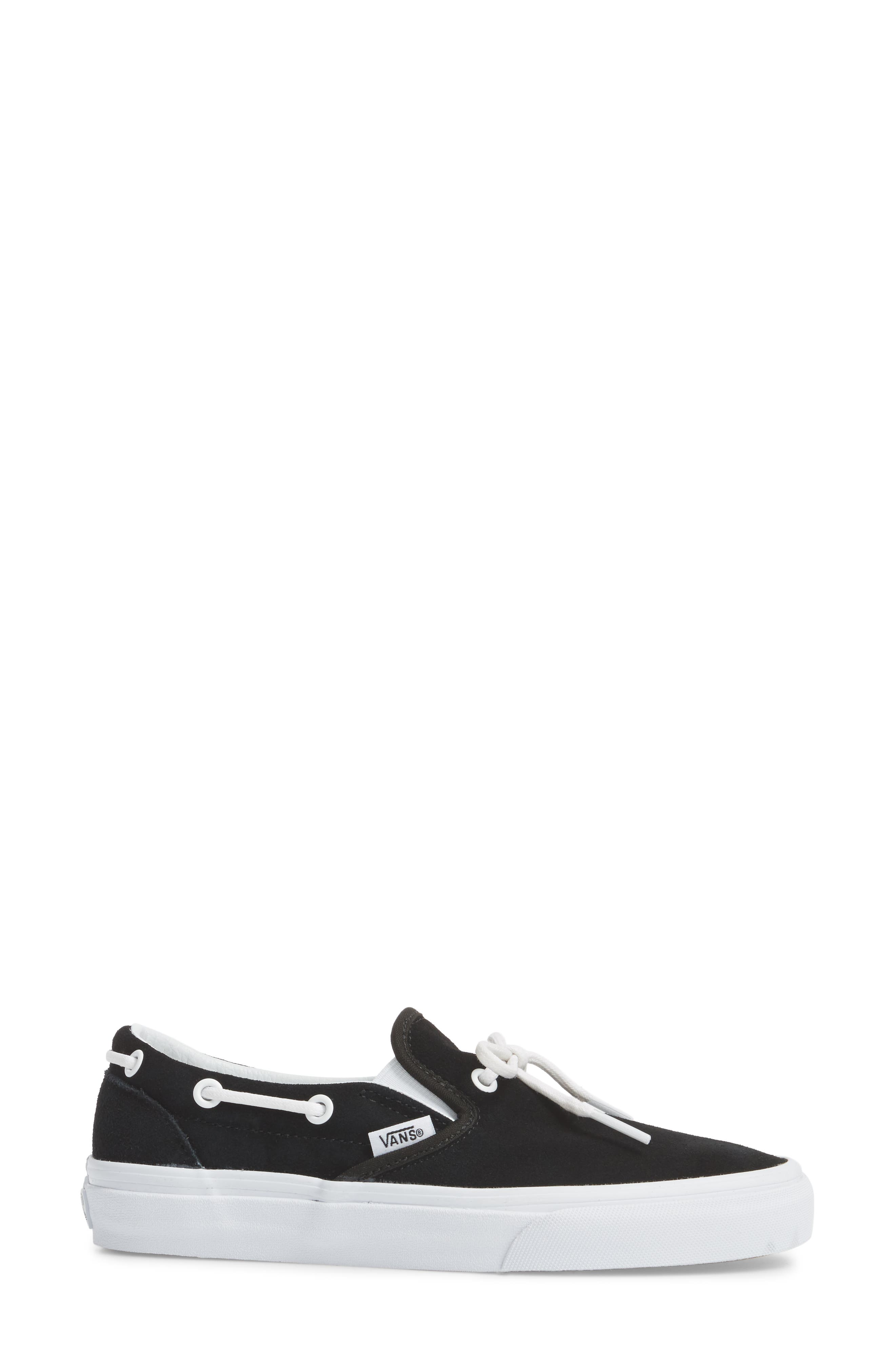 UA Lacey 72 Slip-On Boat Sneaker,                             Alternate thumbnail 3, color,                             Black Leather